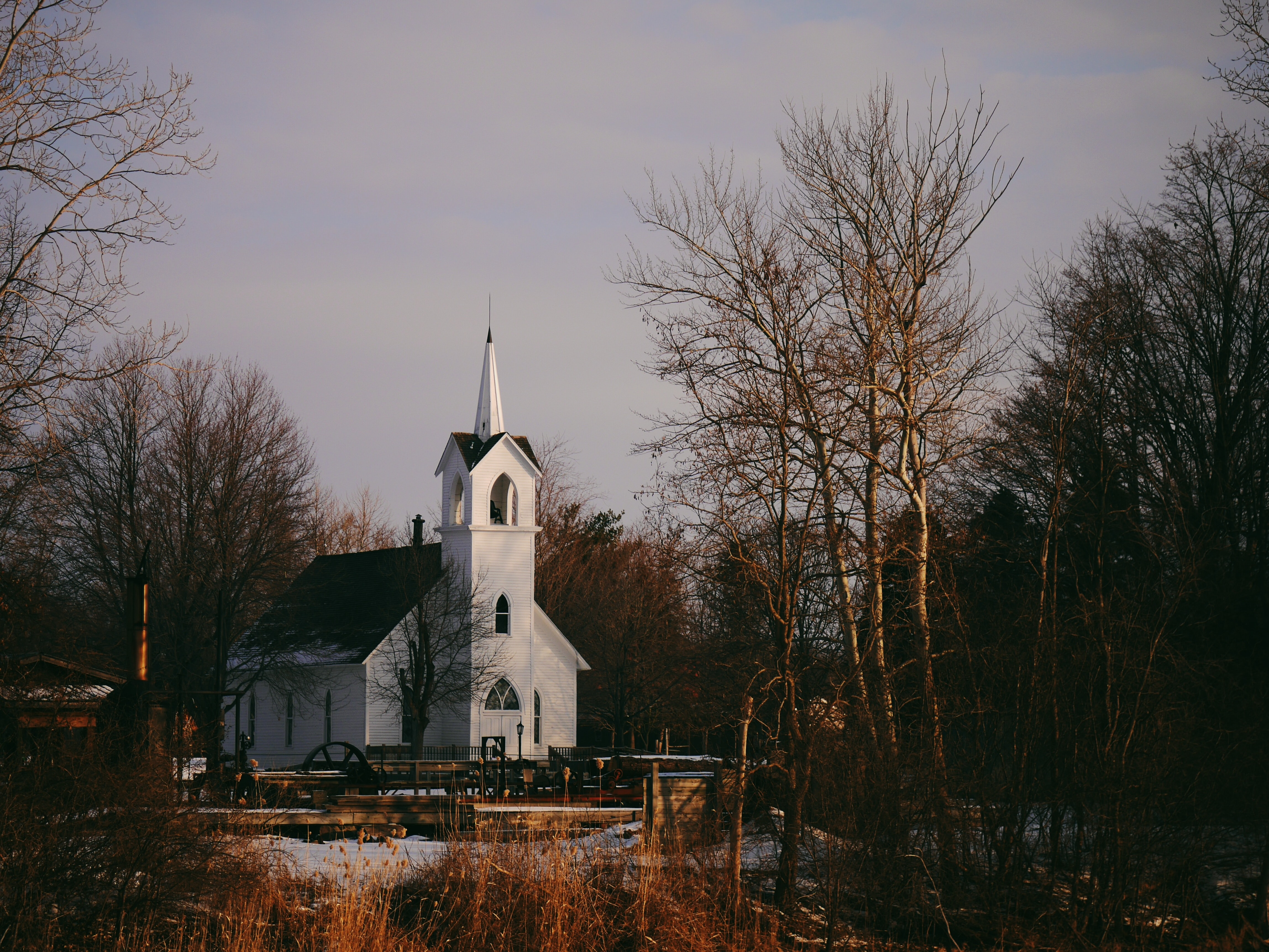 A small white church surrounded by trees