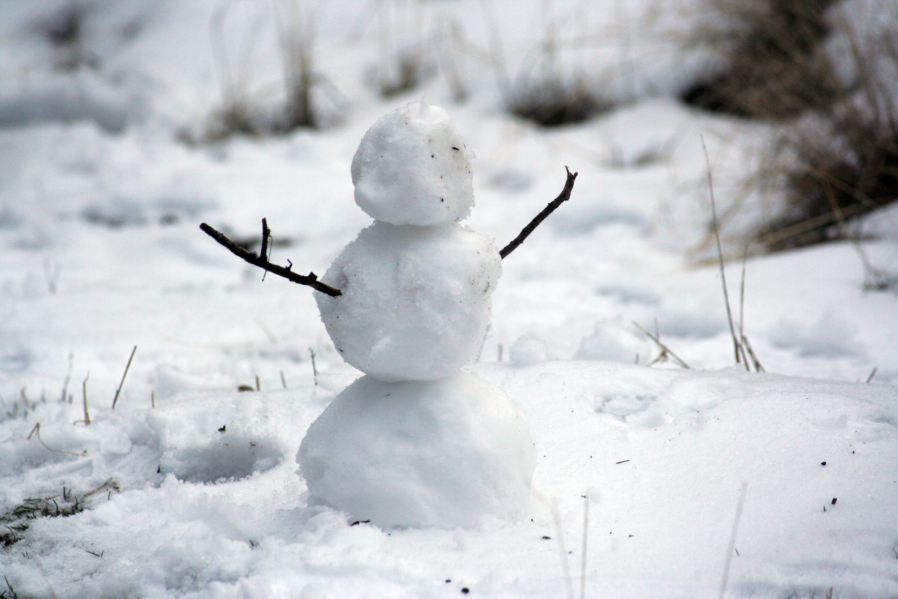 Three small balls of snow sit on top of each other while twigs stick out on either side to make a faceless snowman