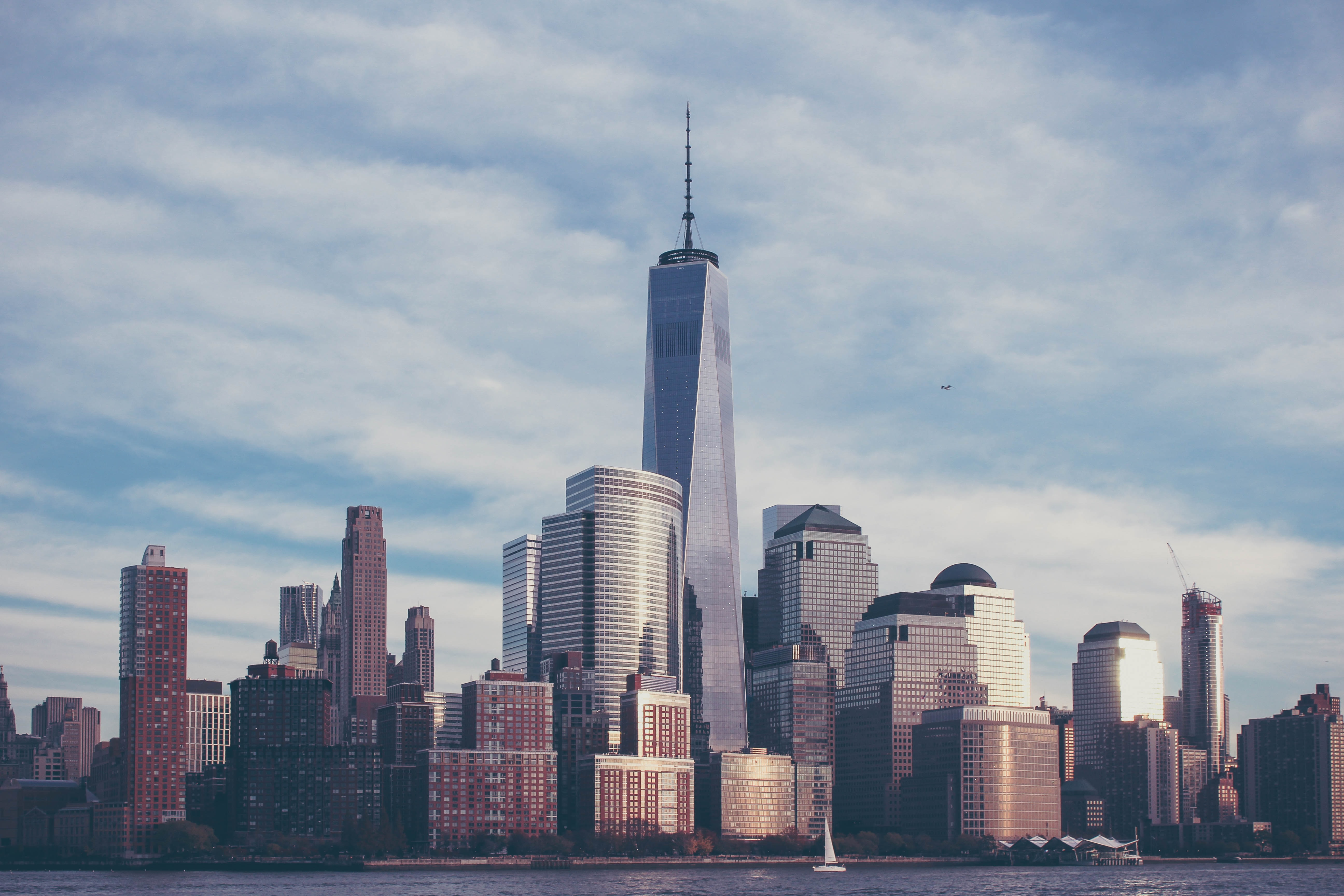 The One World Trade Center towering above other skyscrapers in Lower Manhattan
