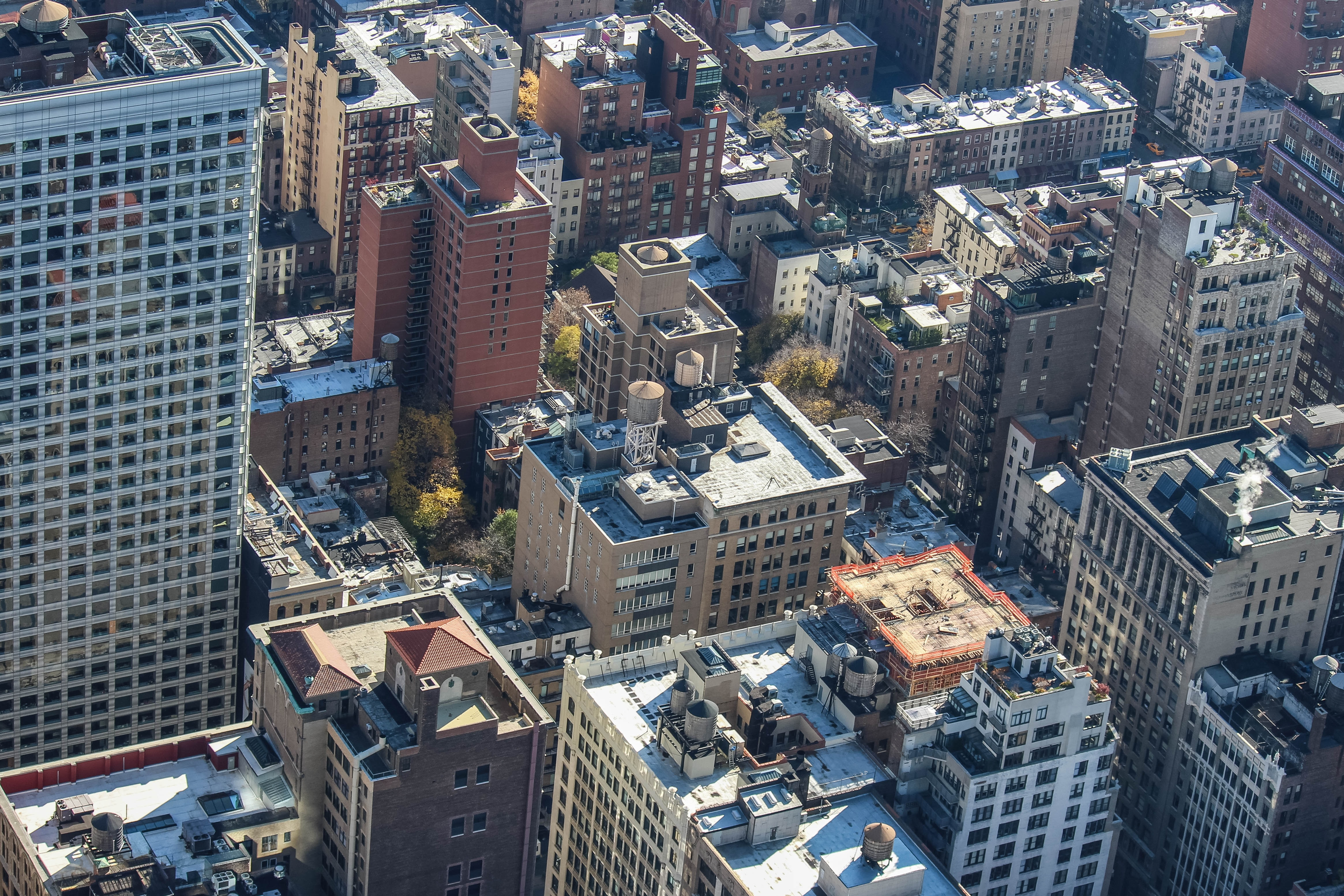 aerial view of high-rise buildings