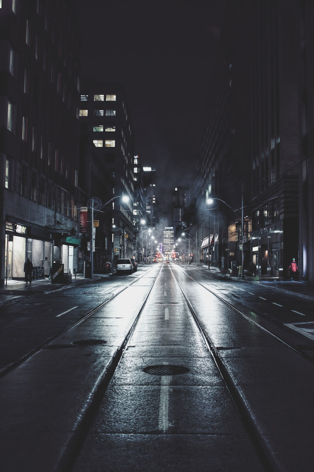 empty road in city during night