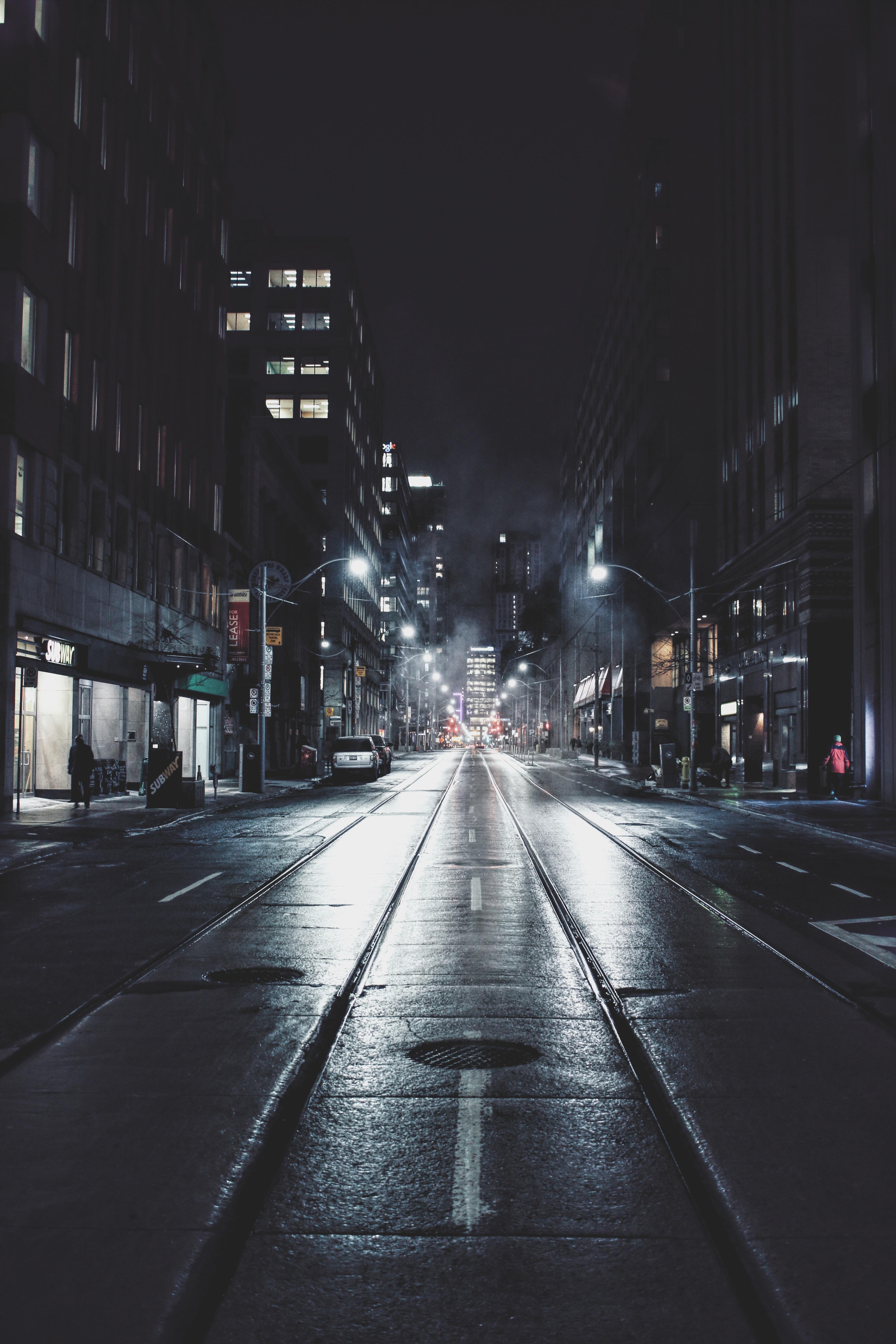 Street views on a dark rainy night in downtown Toronto