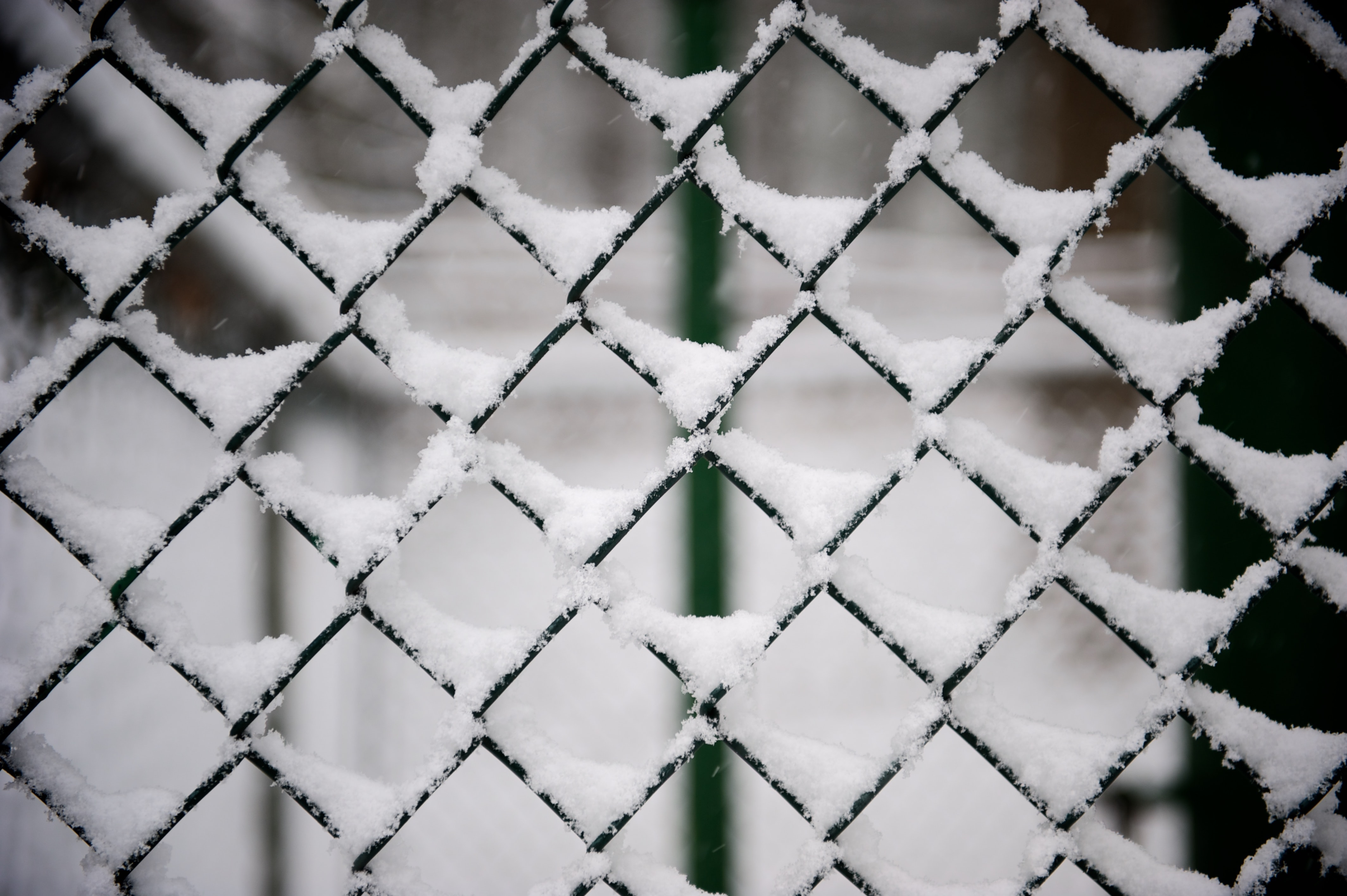 A macro view of a chainlink fence covered with snow in winter.