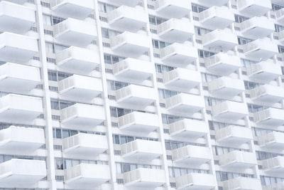 Stern white balconies