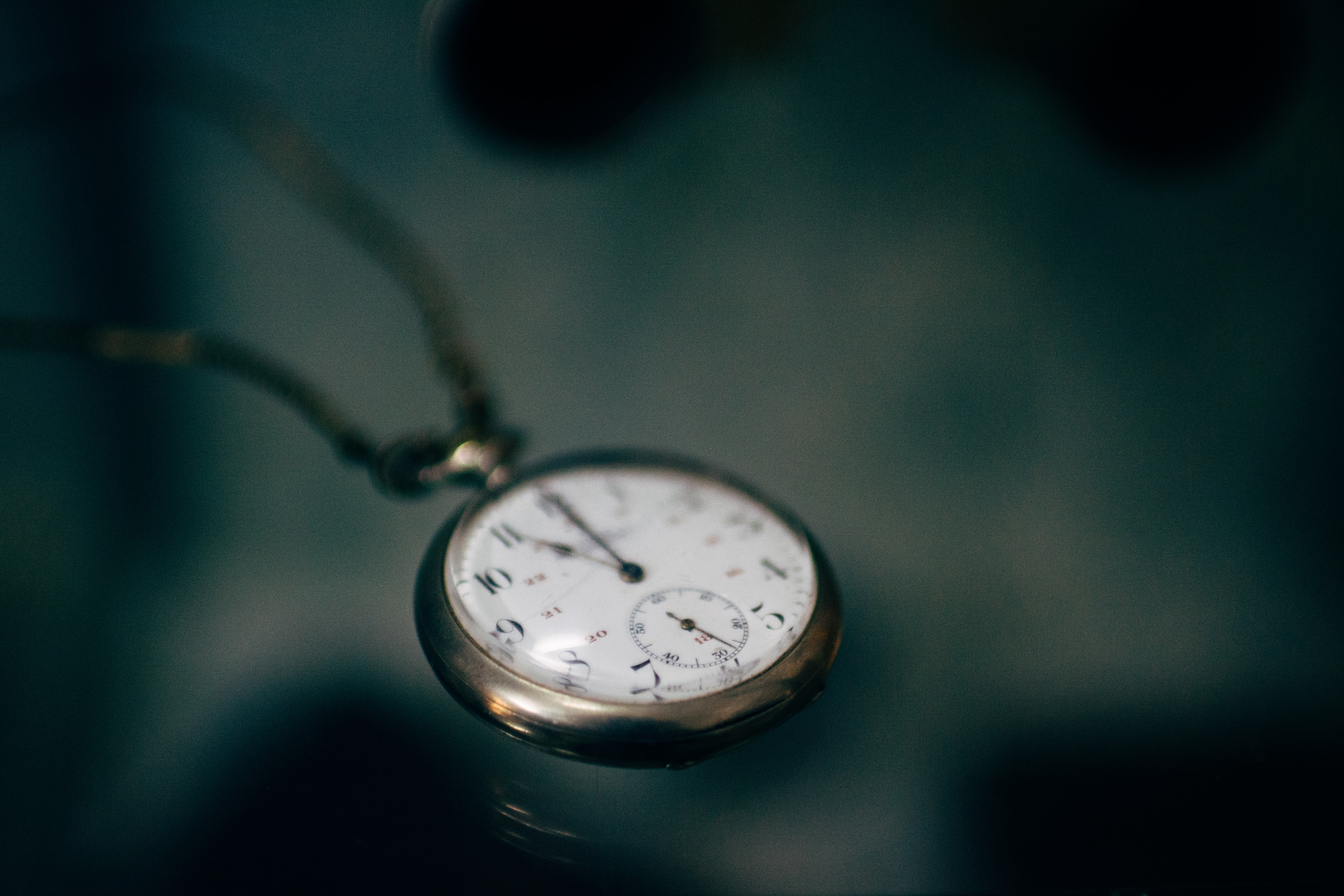 Close-up of an old pocket watch