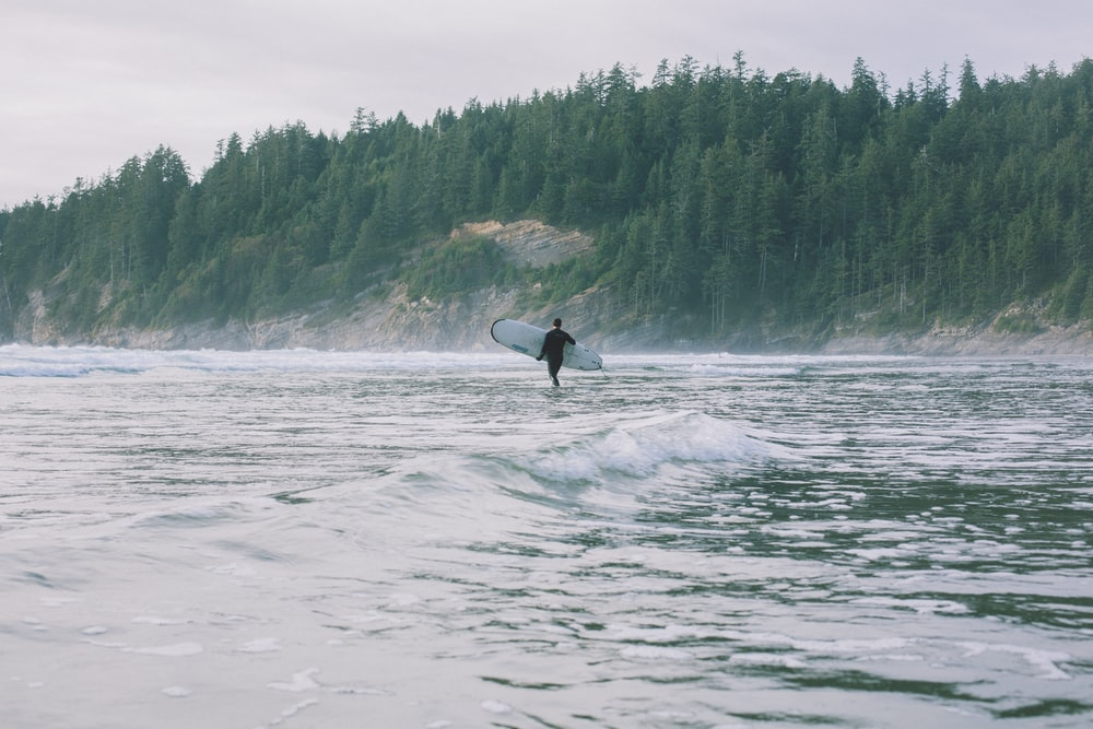 person walking on shore while holding surfboard during daytime
