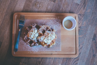 sugar glazed waffle topped with cream manchester united zoom background