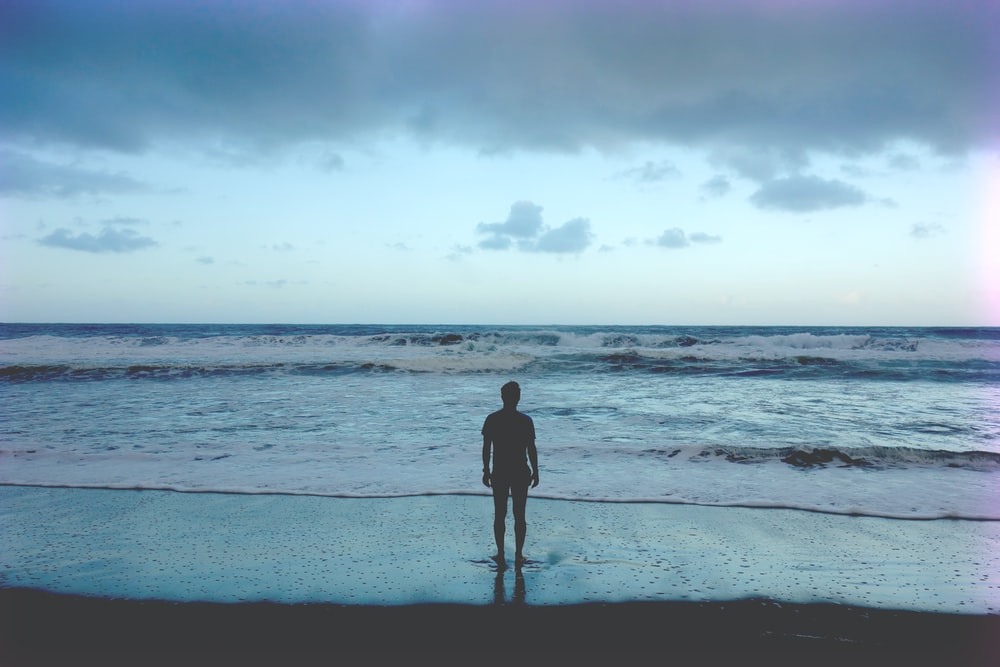 silhouette photography of man standing on seashore