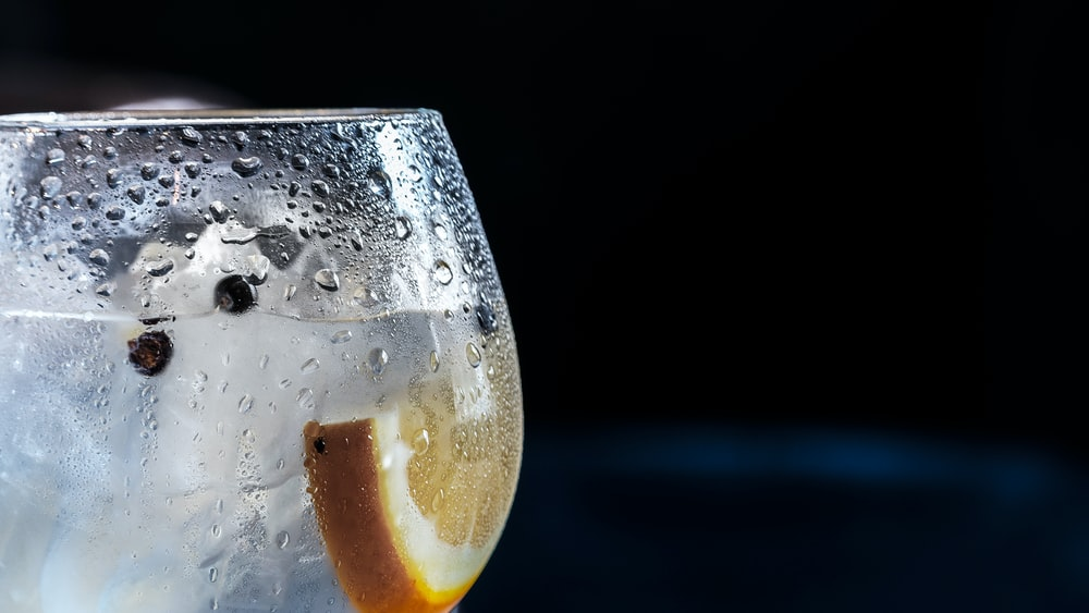 close-up photography of chilled wine glass with clear beverage and slice of lemon
