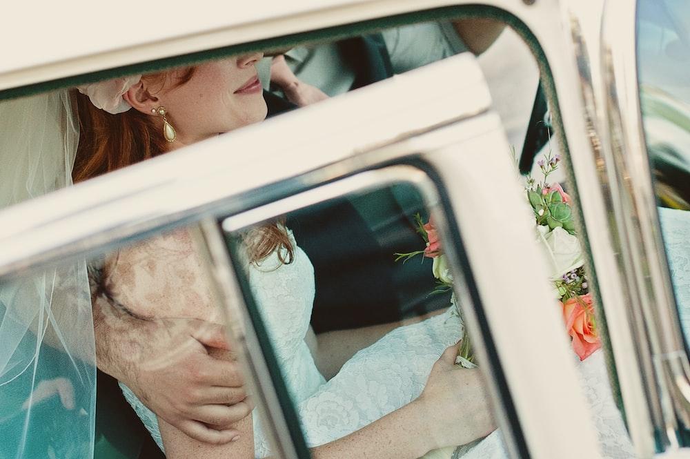 bride in white vehicle