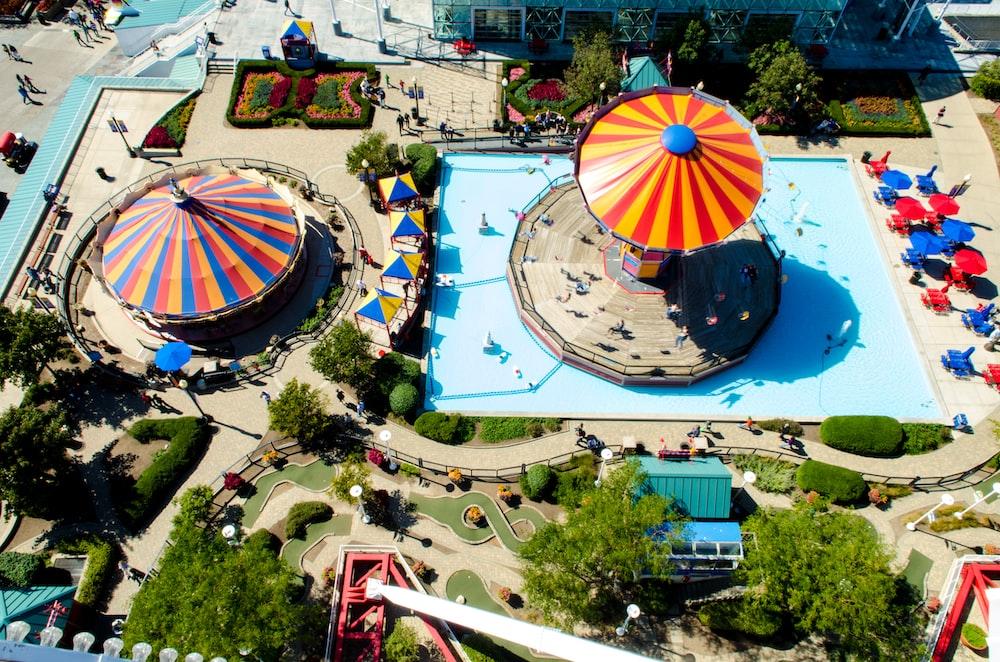 bird's eyeview photo of swimming pool
