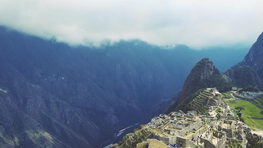 aerial photo of Machu Picchu