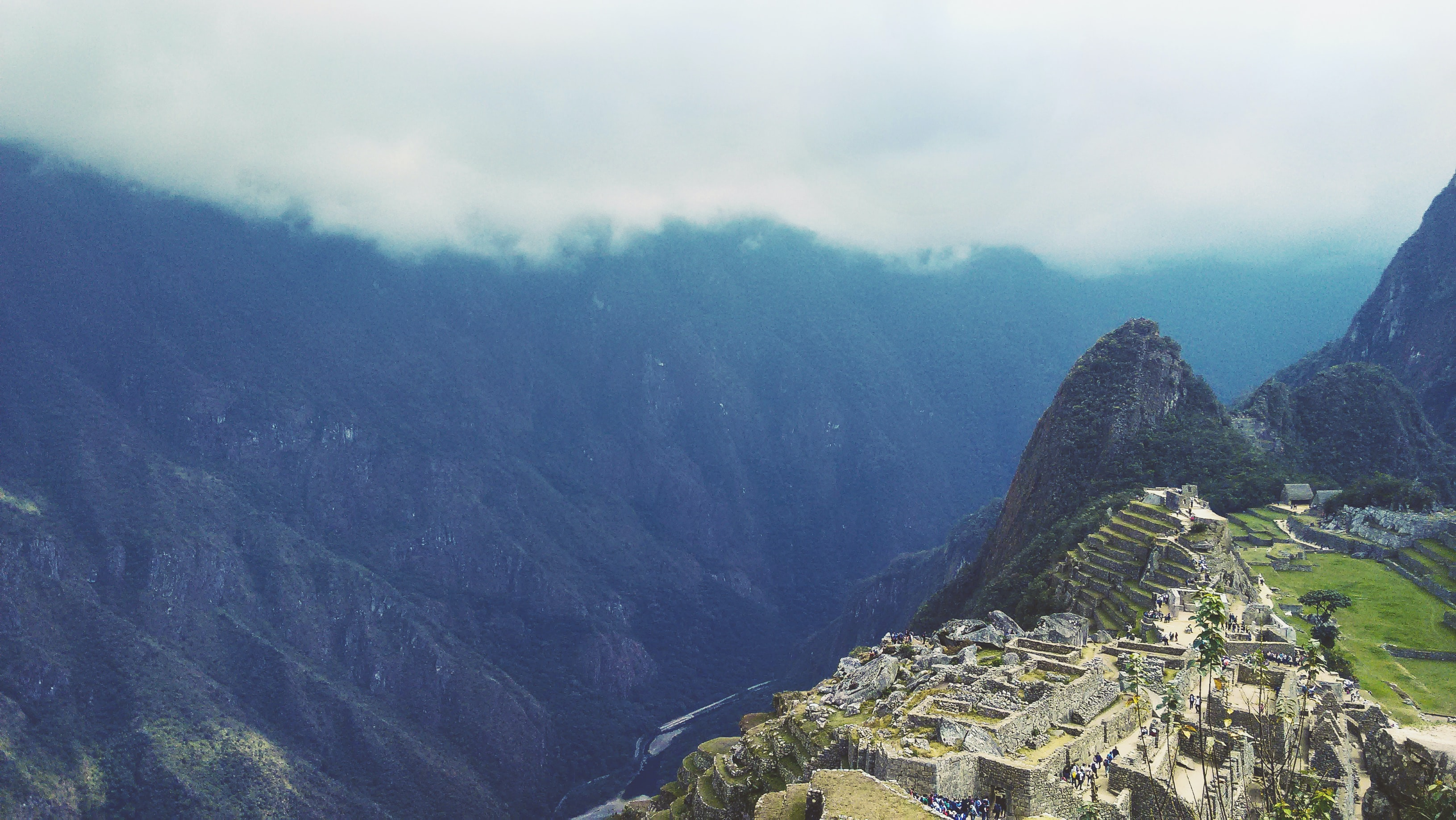 aerial photo of Machu Picchu