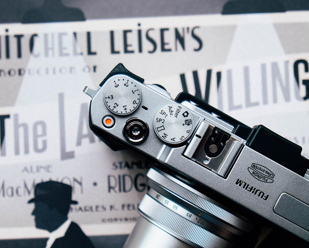 gray Fujifilm SLR camera