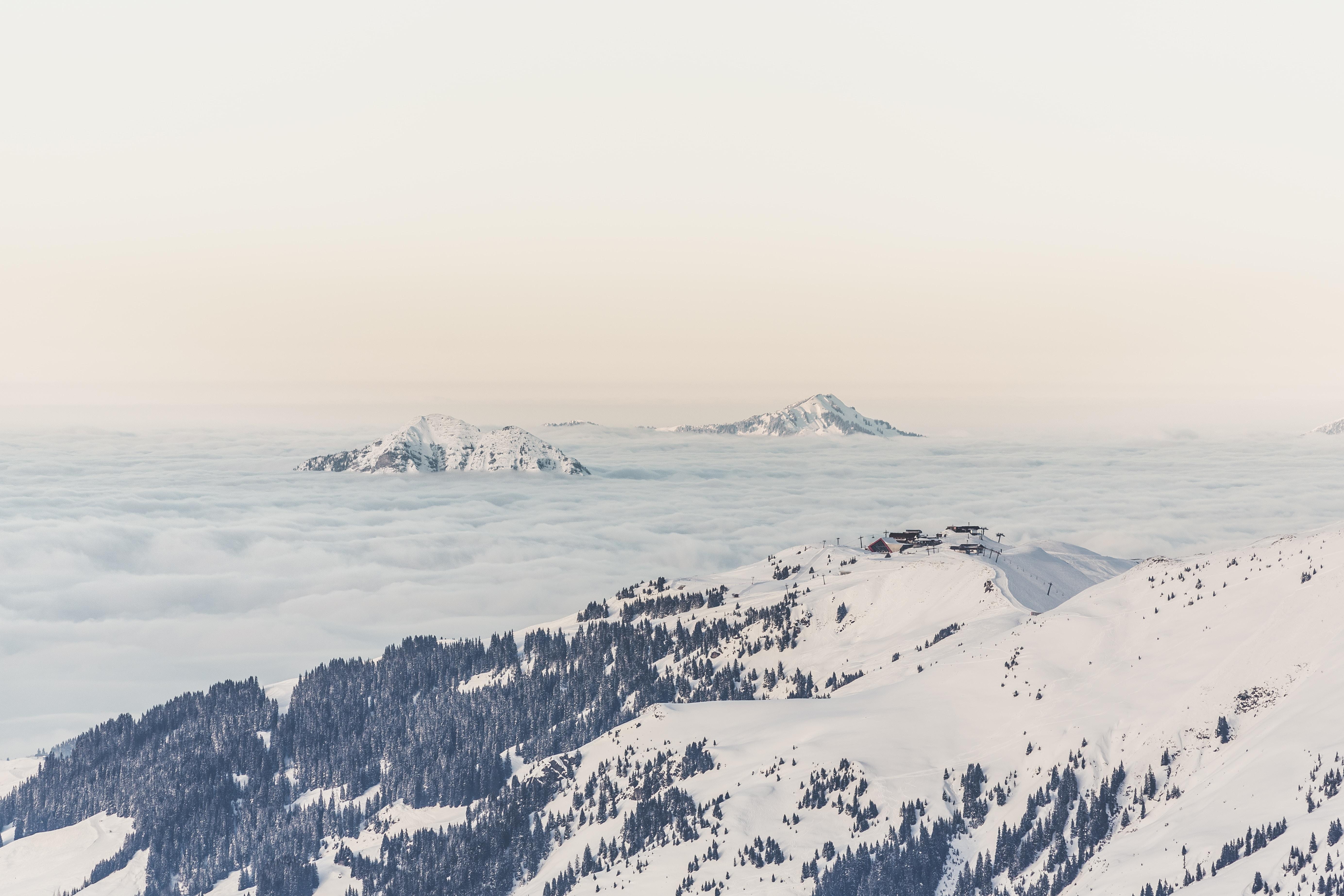white snow covered mountains
