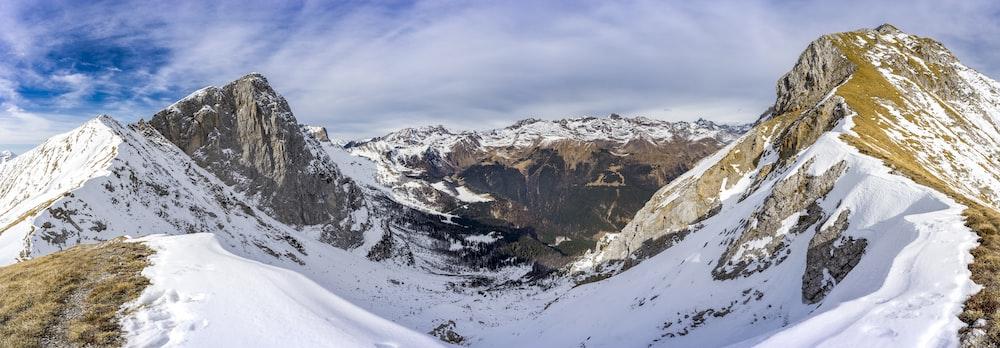 glacier mountain under cloudy sky