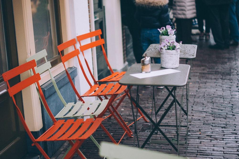 orange and white bench