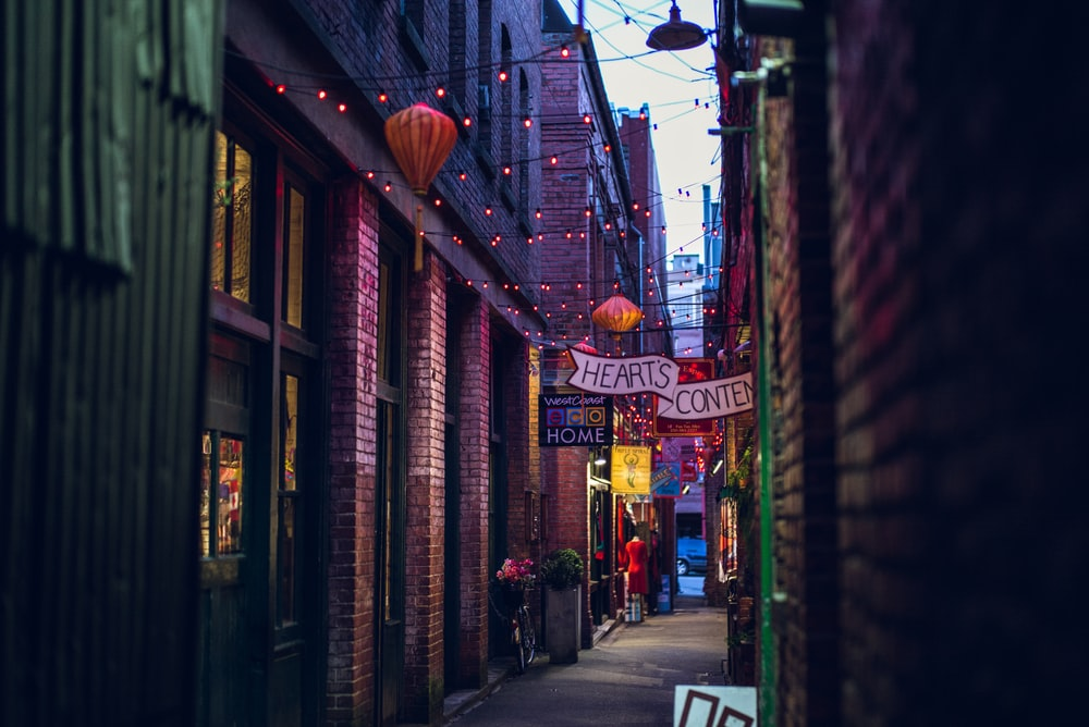 photo of a colored street with lightrs