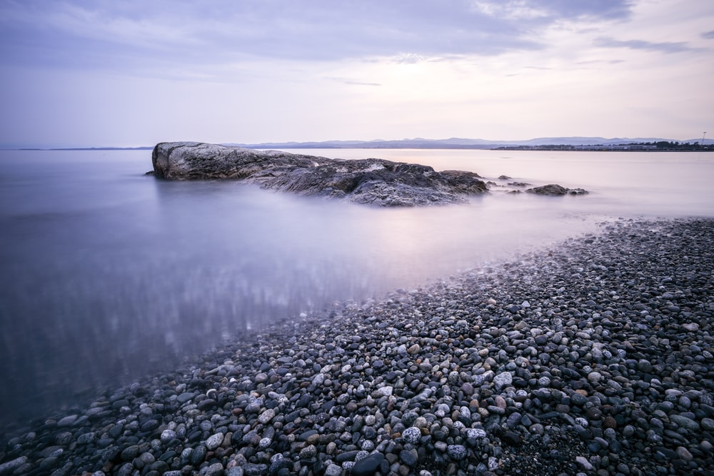 stony beach during cloudy day