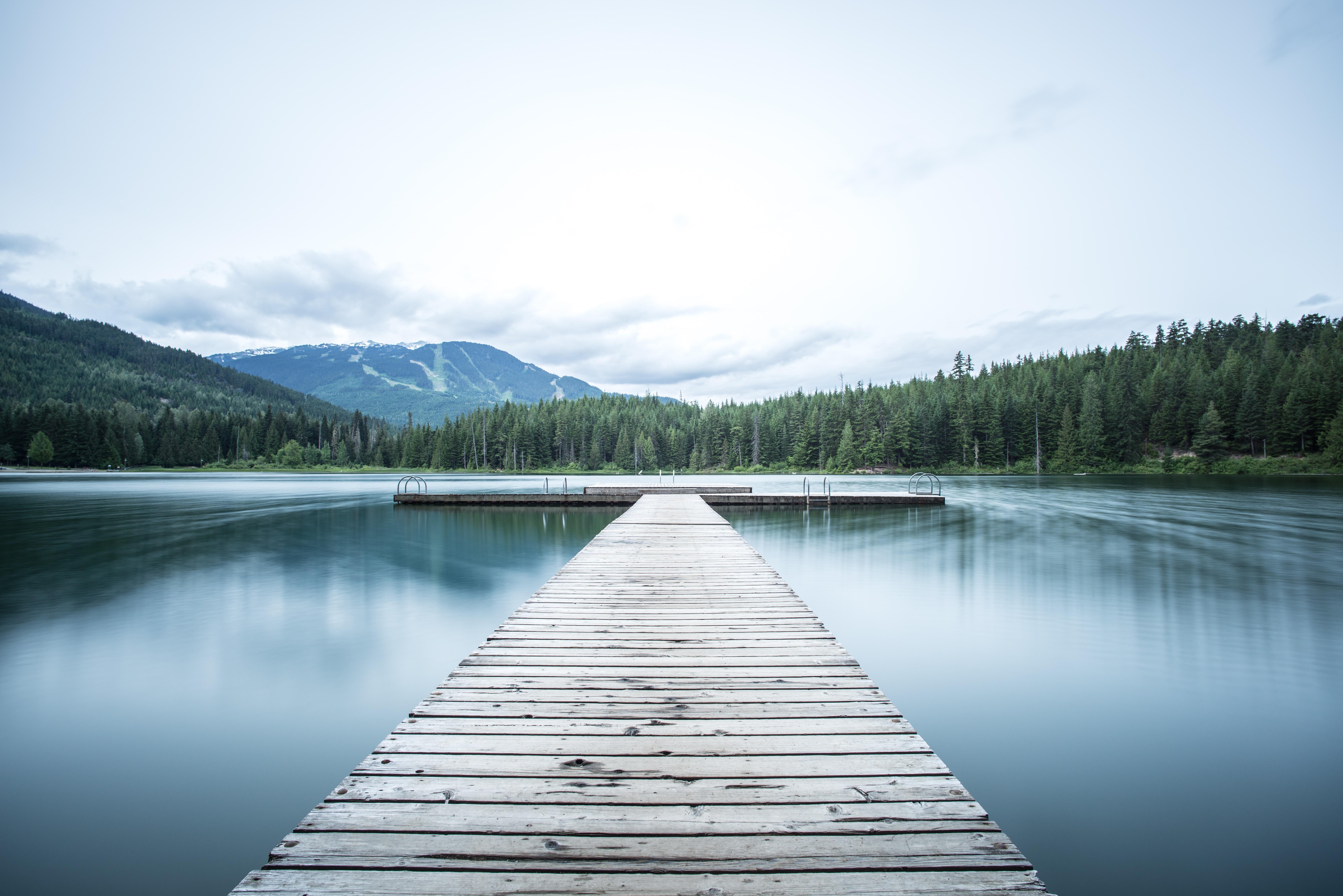 Long pier on a lake