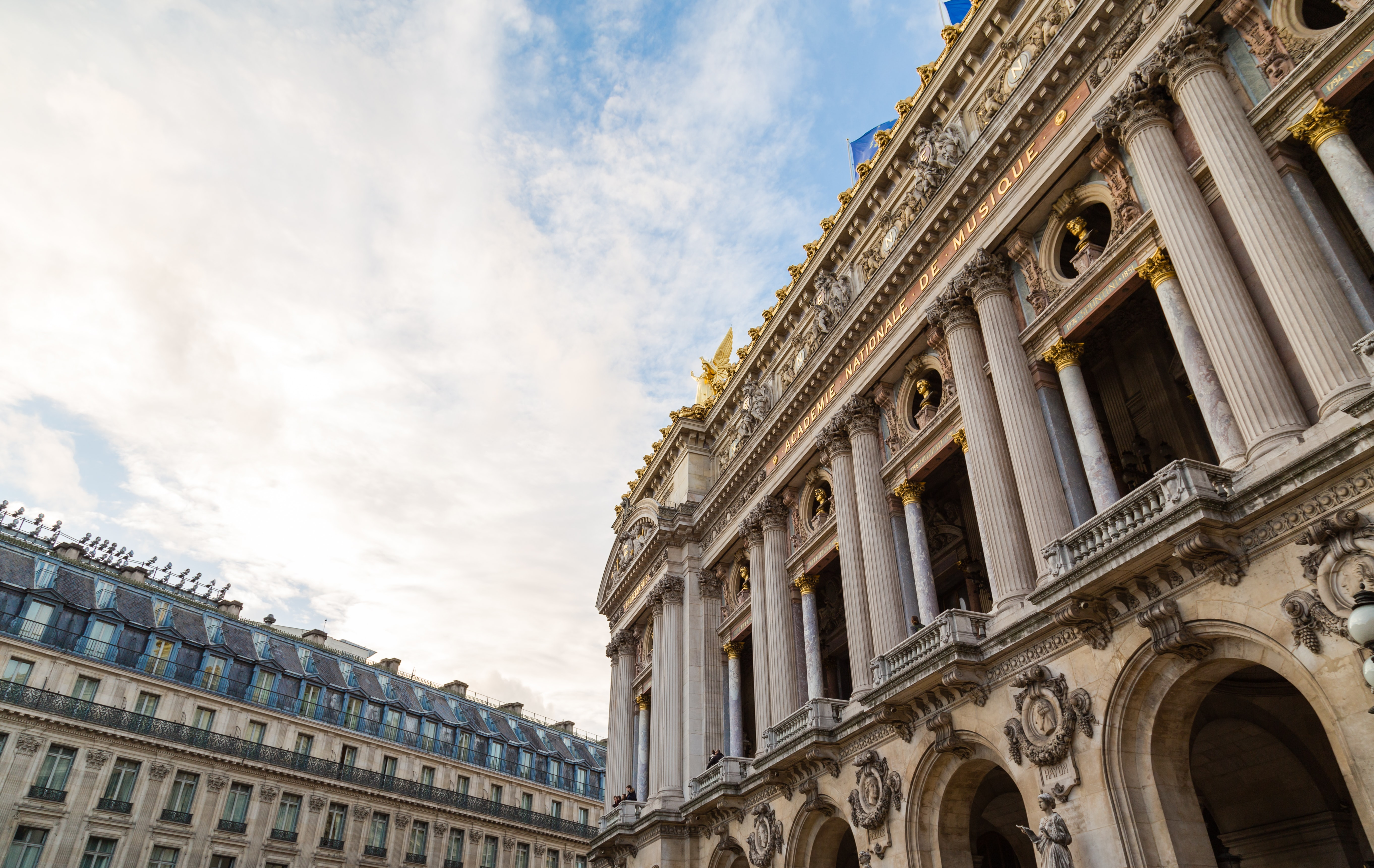 Architectural photo of an old building in Paris, France.