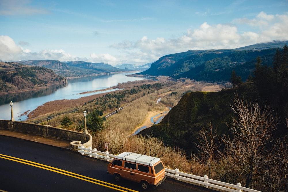 brown van on road