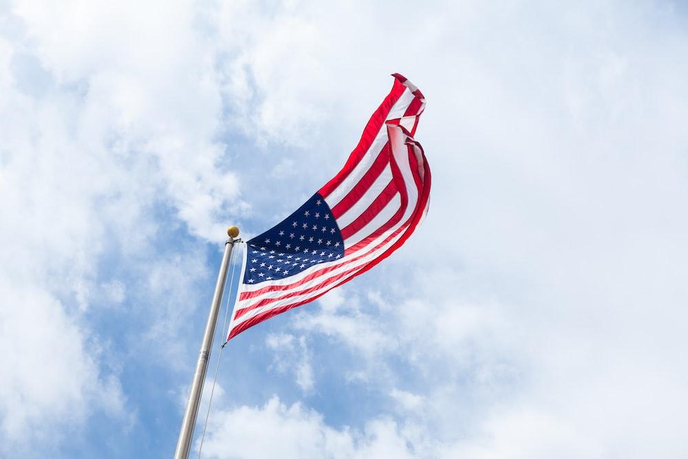 flag of USA with flag pole