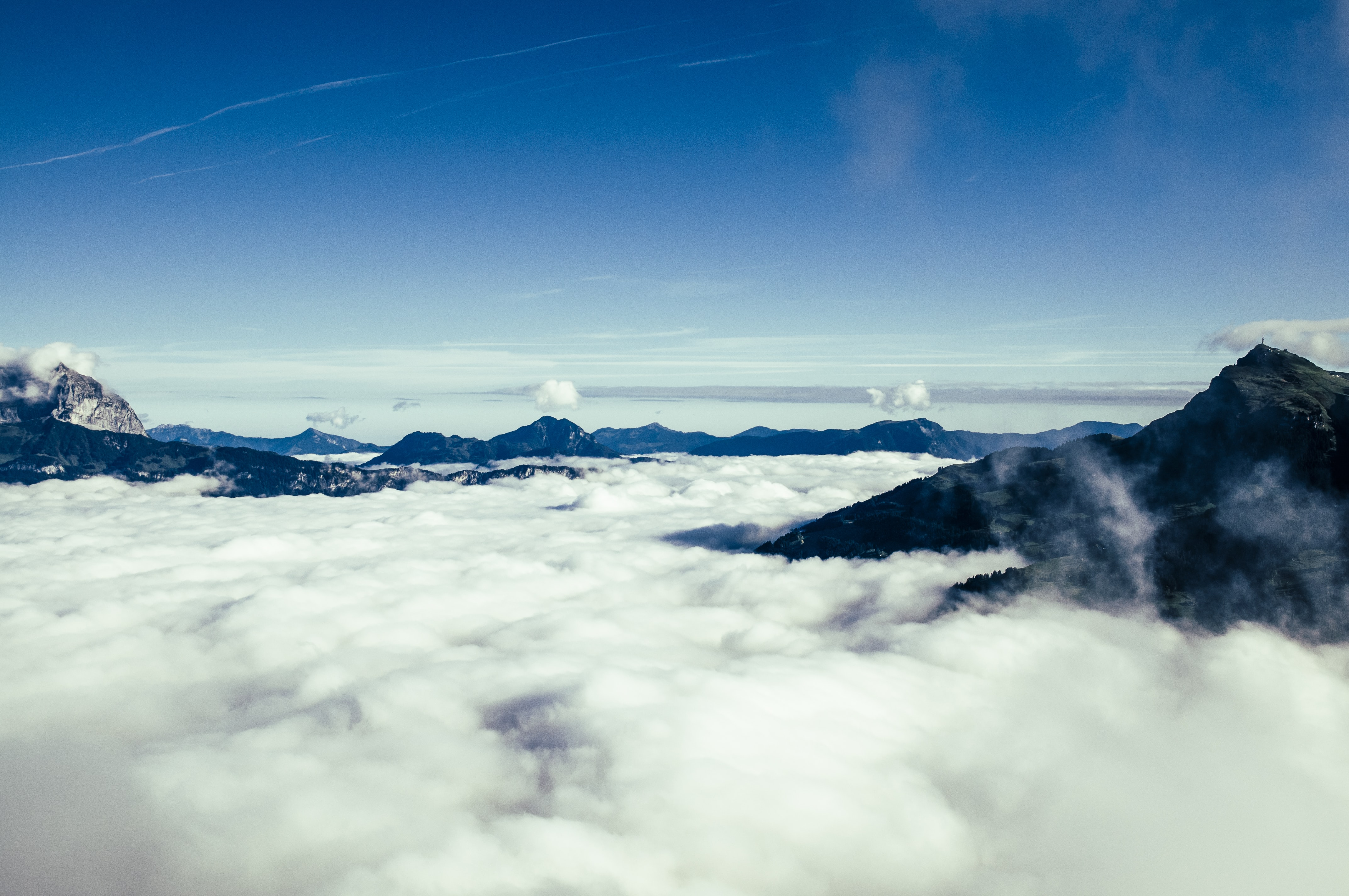 aerial photography of fog