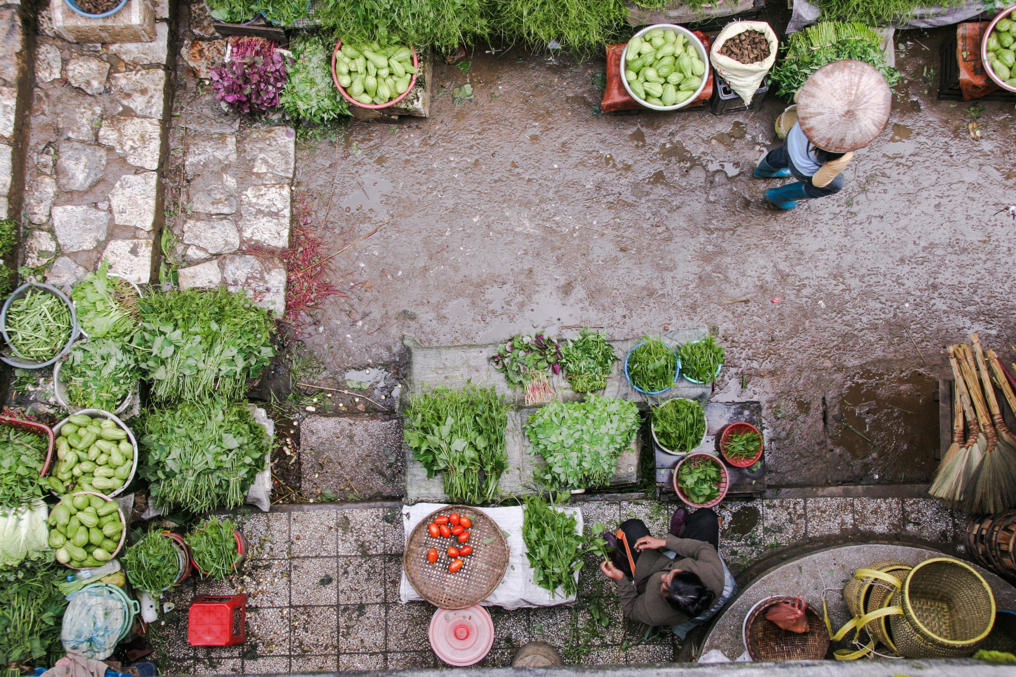 A drone view of a vegetable market in Sa Pa