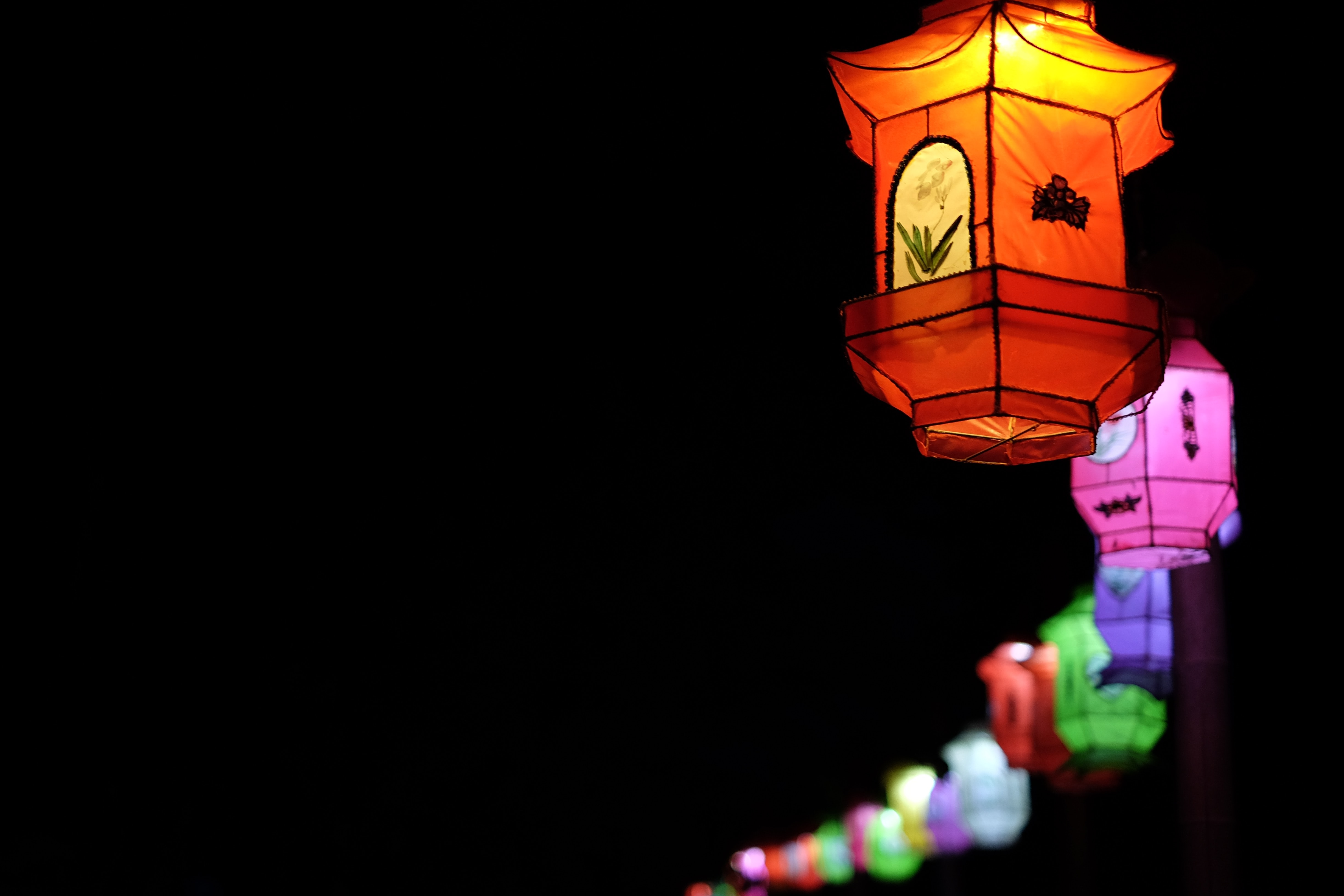 selective focus photography of assorted-color floating lantern lot