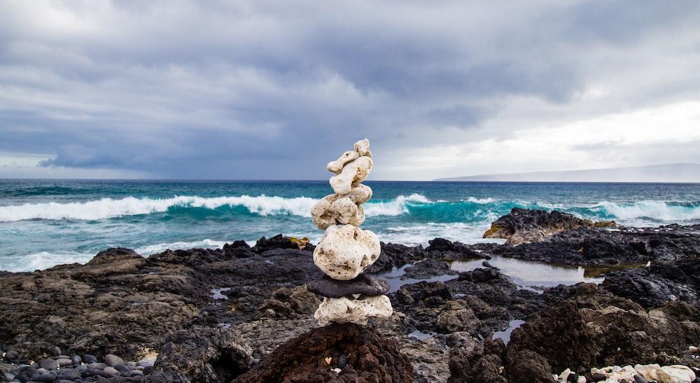 rock formation near seashore during daytime