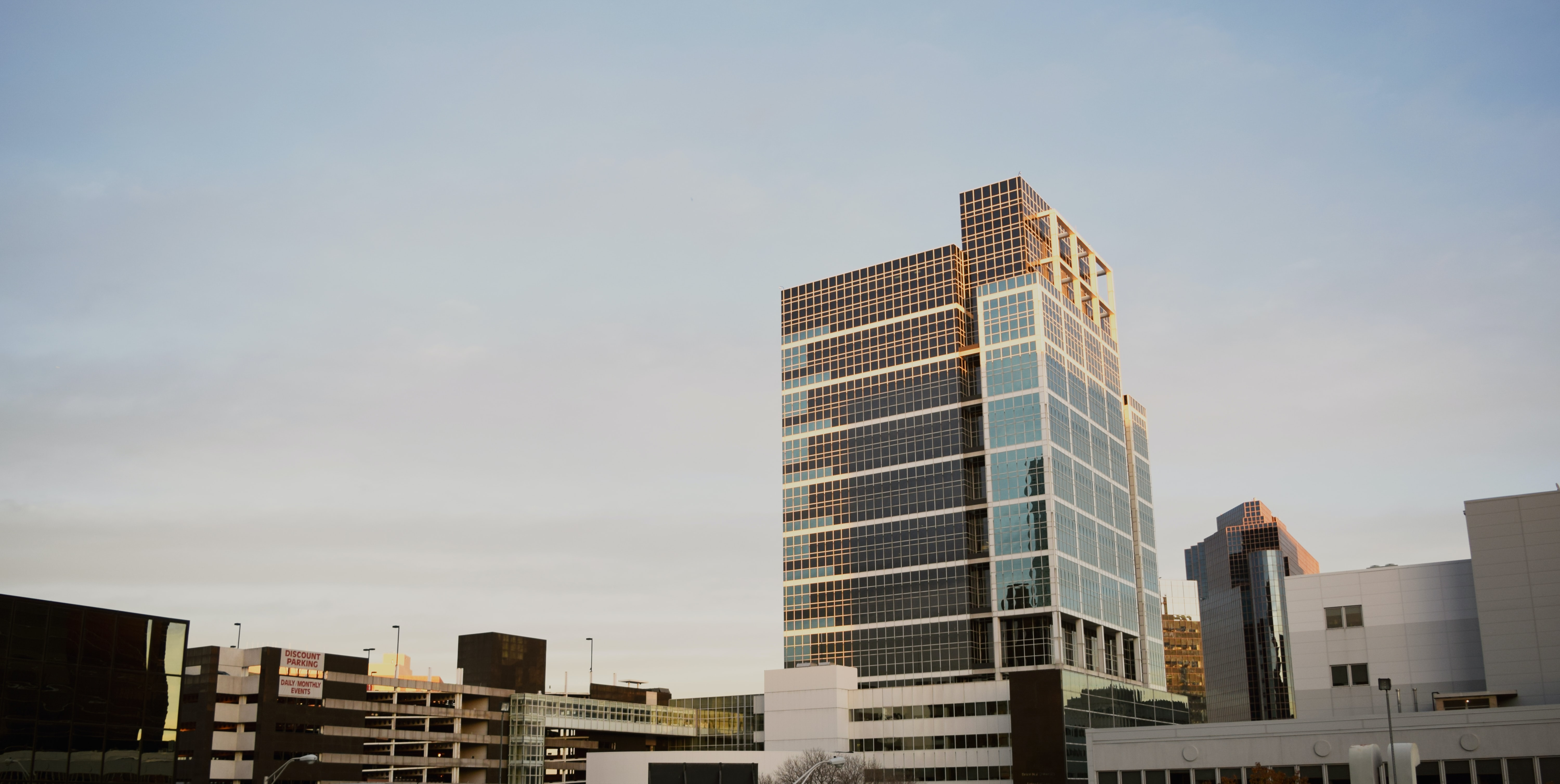 Office buildings and multi-story parking lots in Newark
