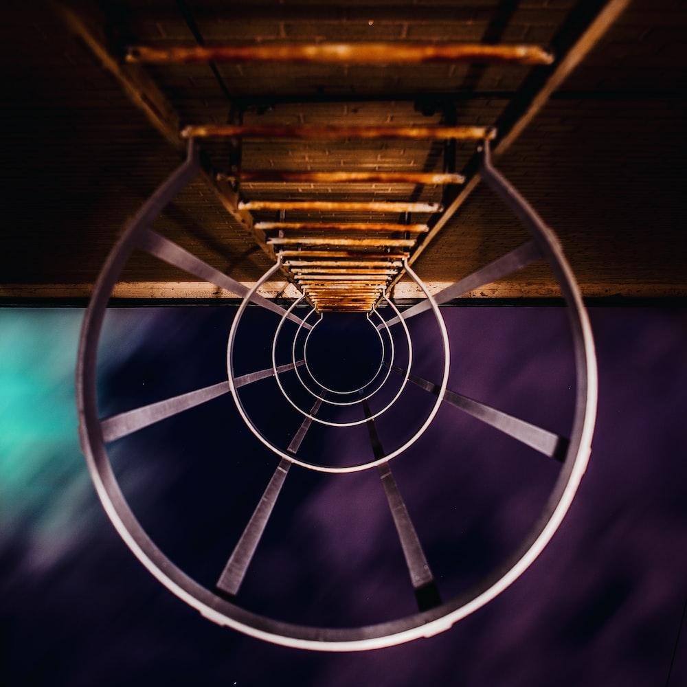 down view of brown metal ladder