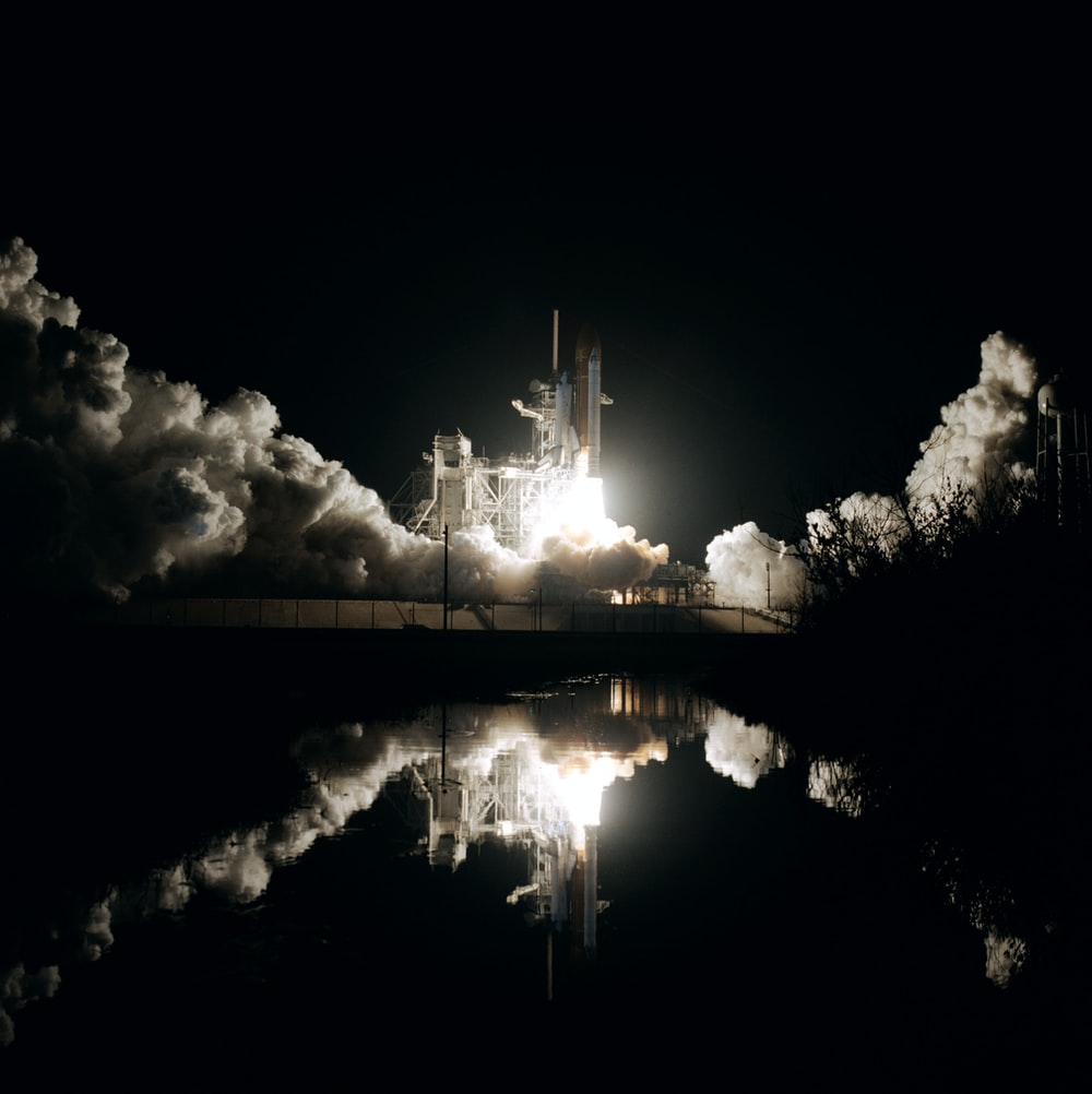 space shuttle taking off