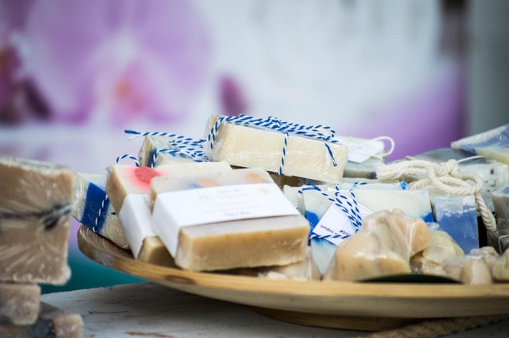 Bars of handmade soap on a platter
