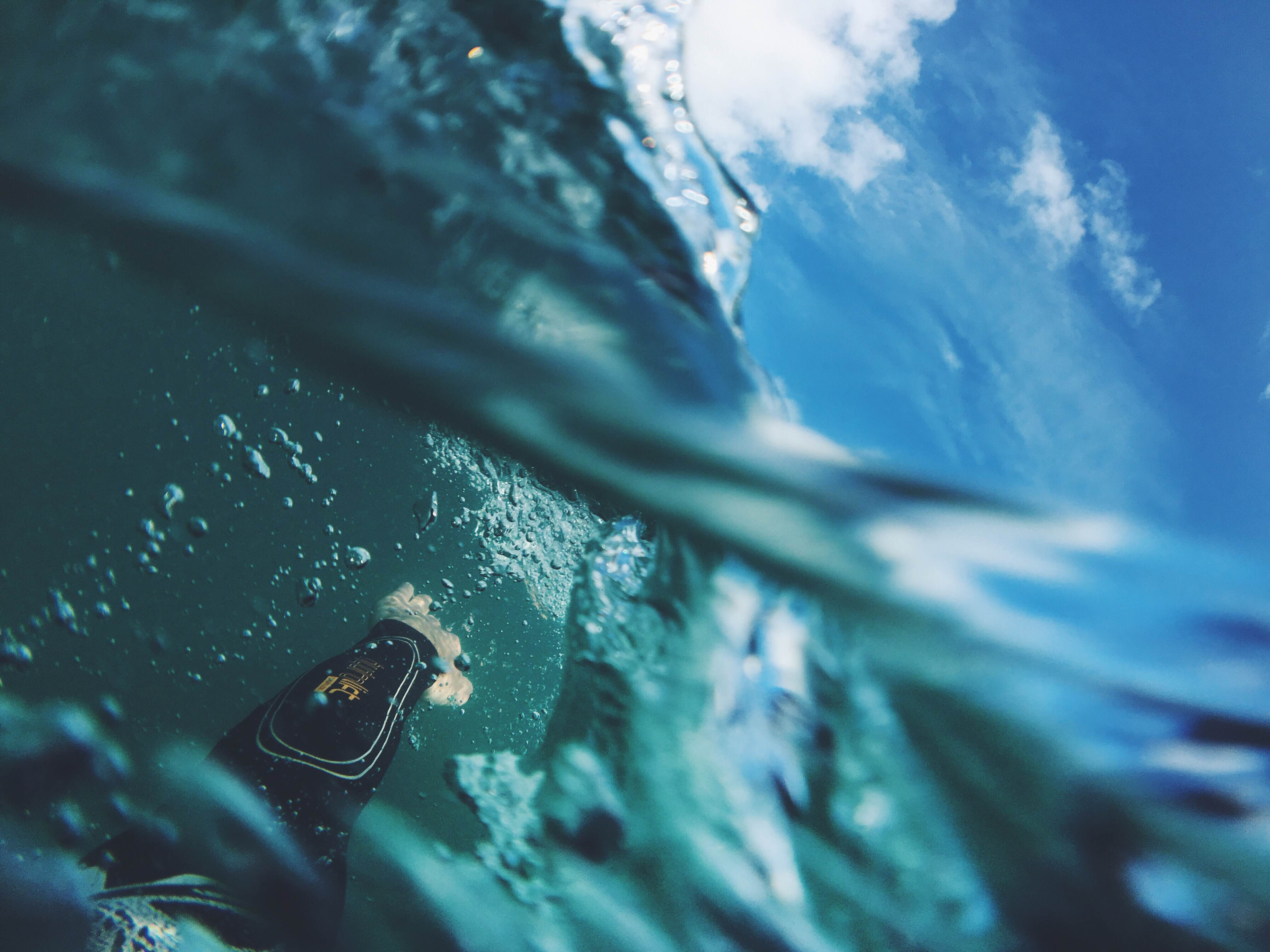 underwater photography of diver diving on body of water during daytime