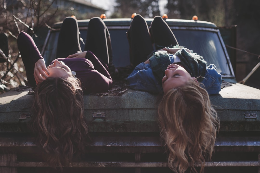 Girls on old truck