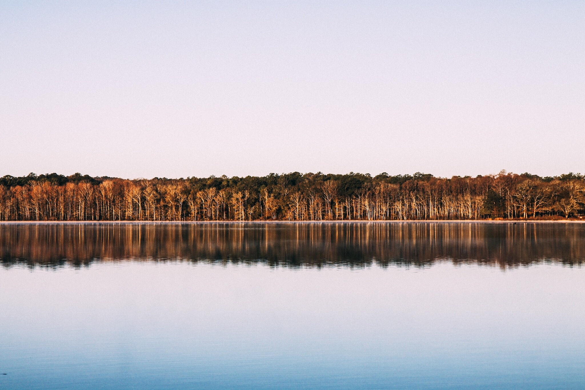 View across a lake on autumn trees on the other shore