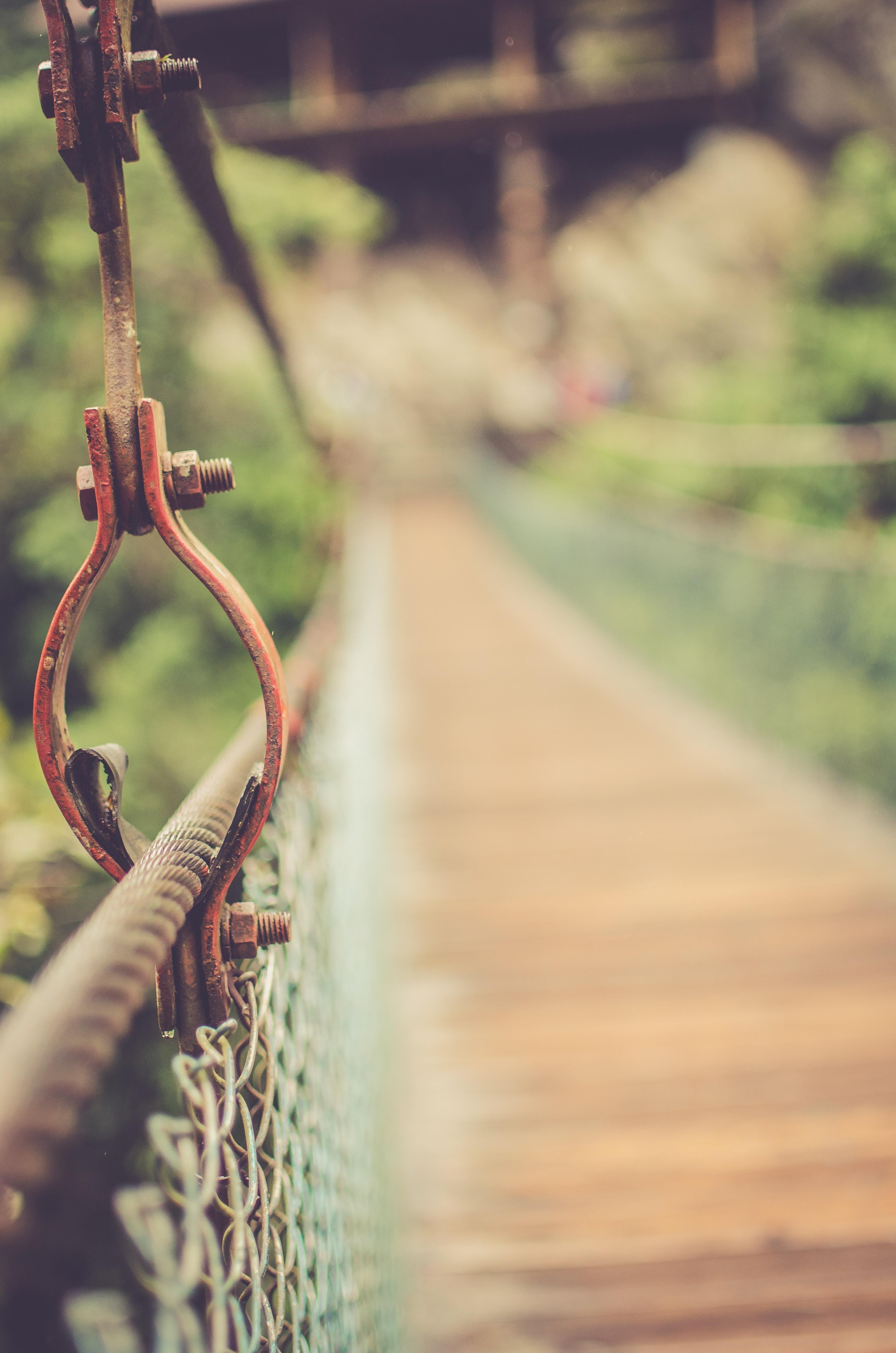 Metal details on a suspension foot bridge