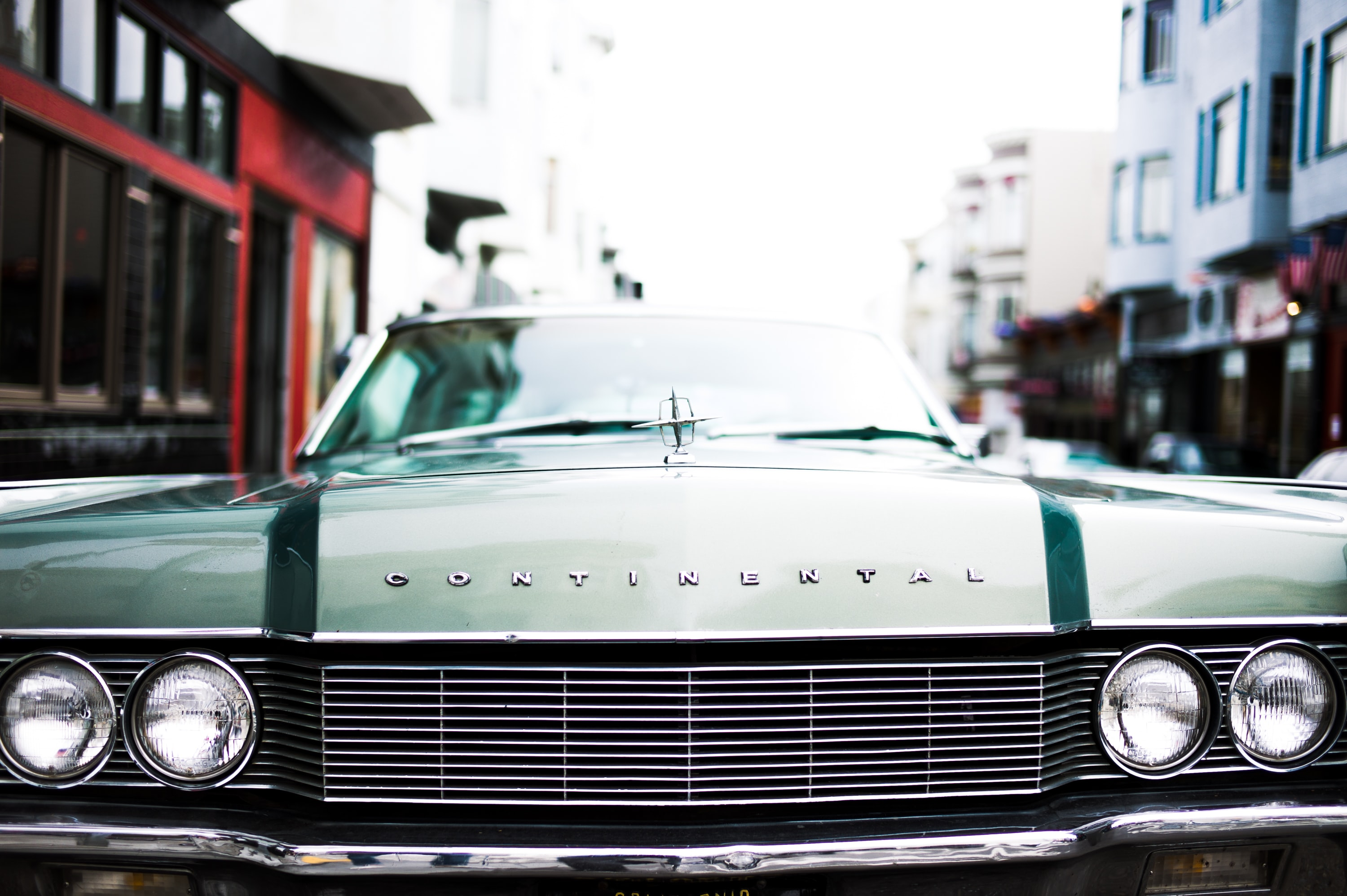 Chrome grille and headlights of a vintage car in San Francisco.