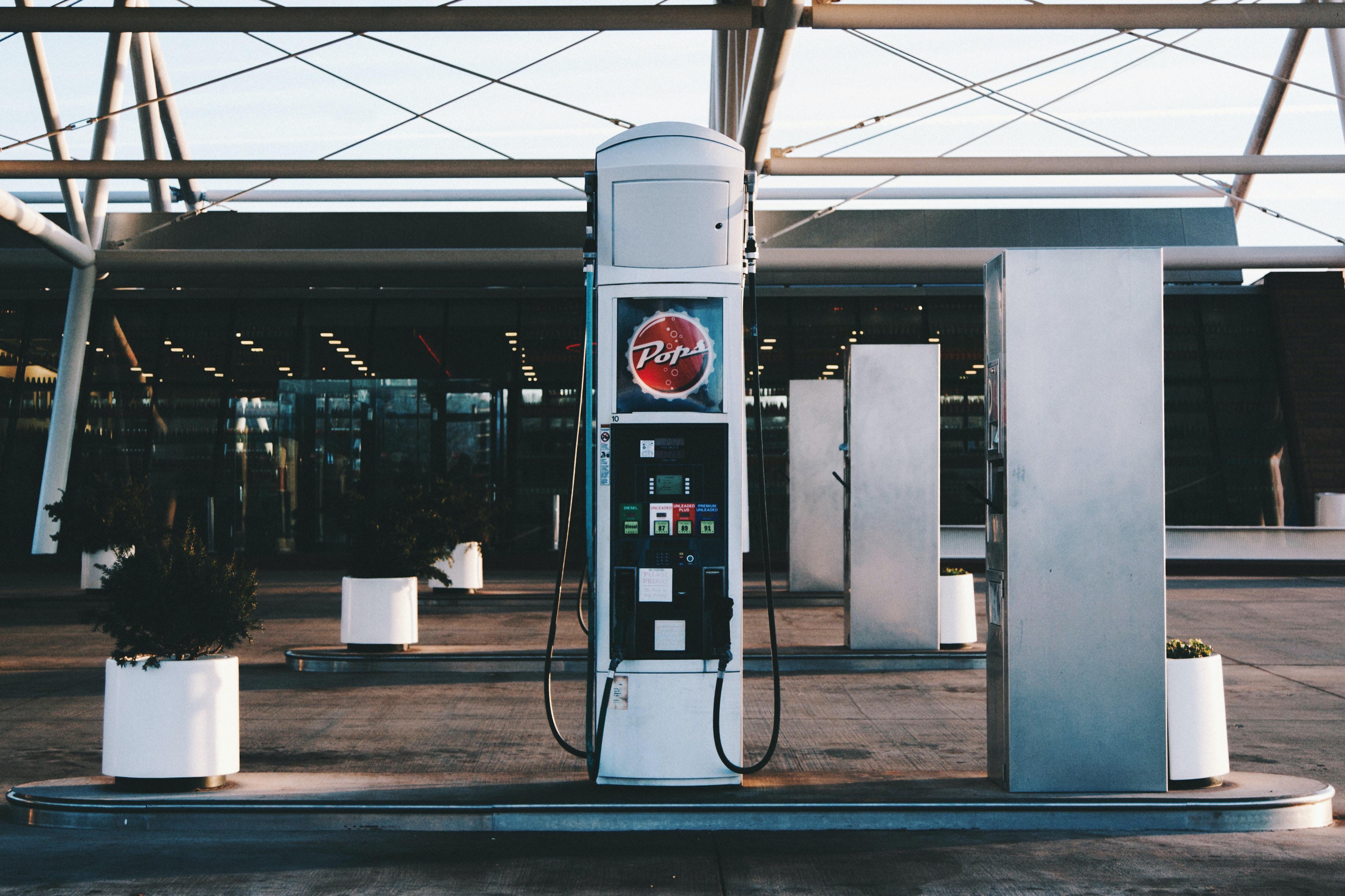 gray gasoline pump station