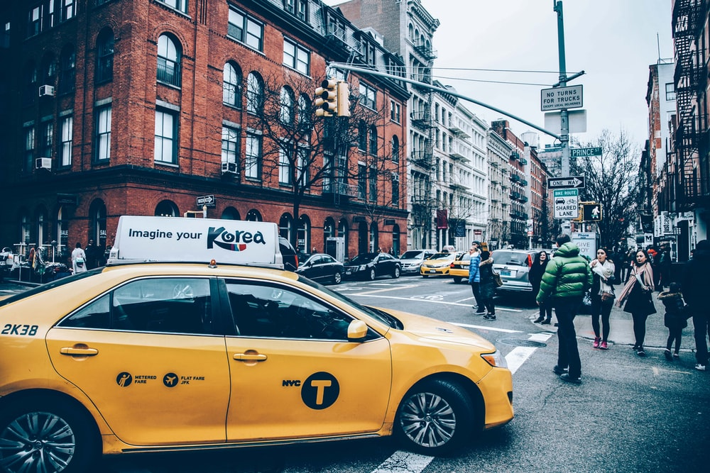 yellow cab in city