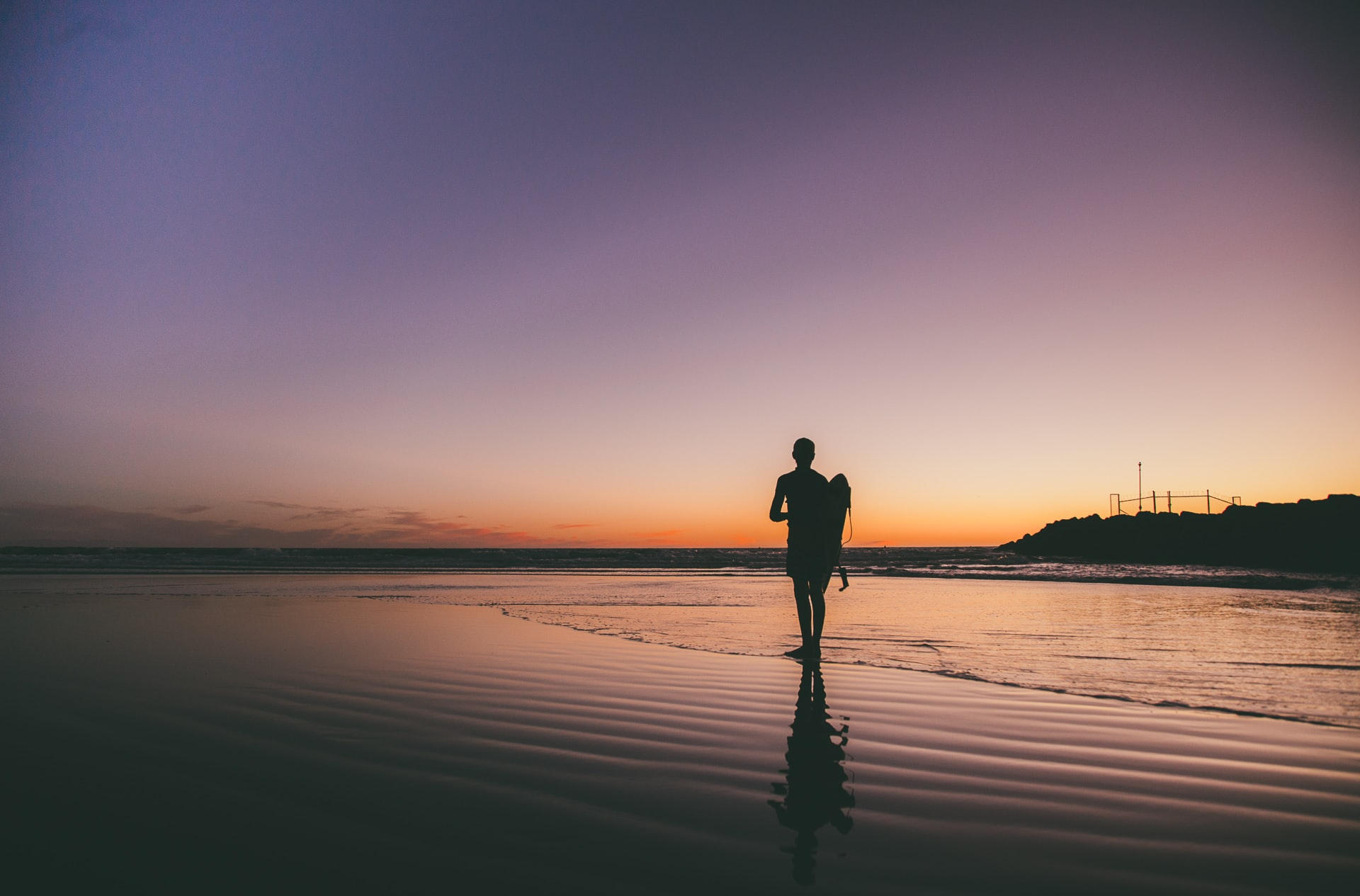 silhouette photo of man near the shore