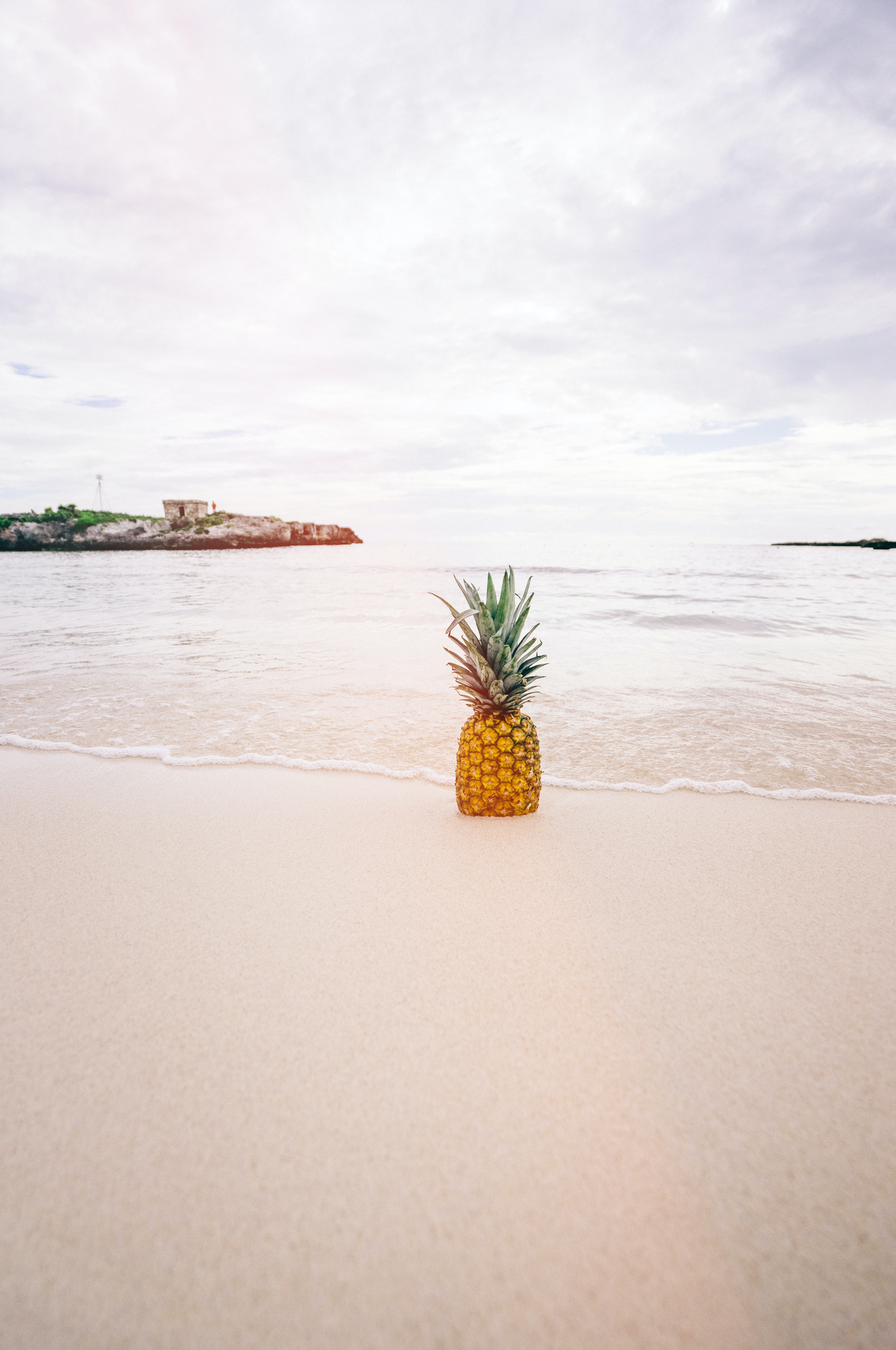 A pineapple in the sand overlooking the ocean.