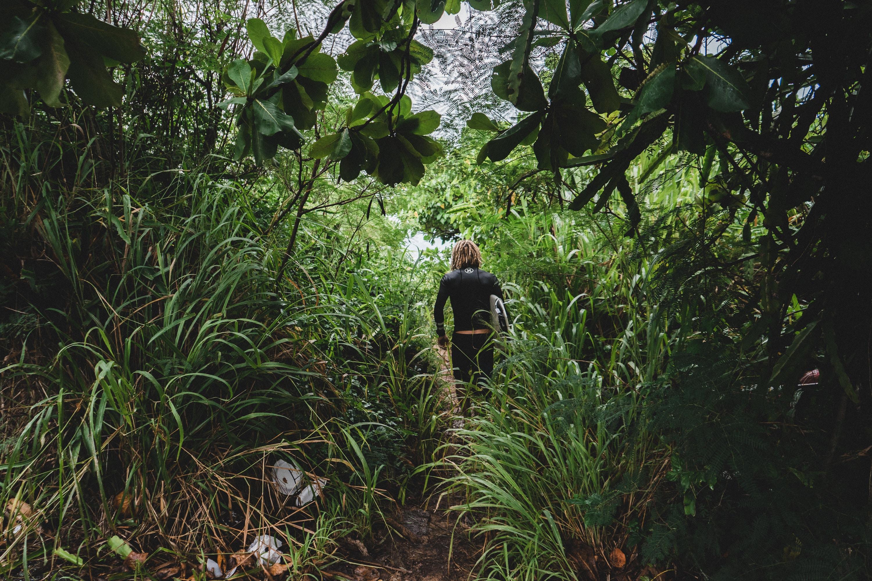 woman walking on animal trail during daytime