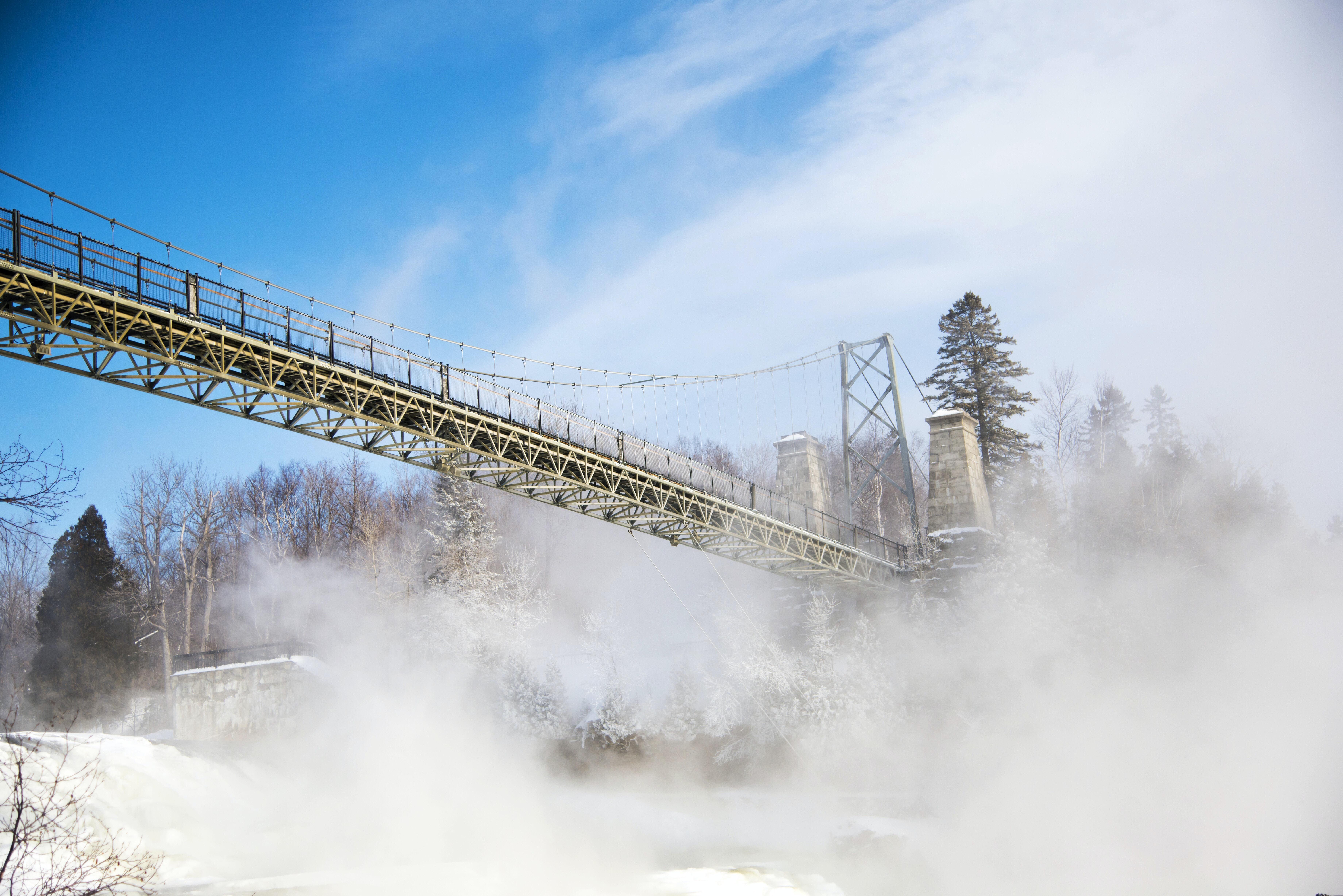Bridge overpass in a snowy winterscape in Montmorency Falls