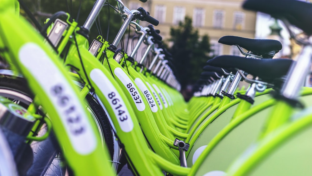 inline green bicycles