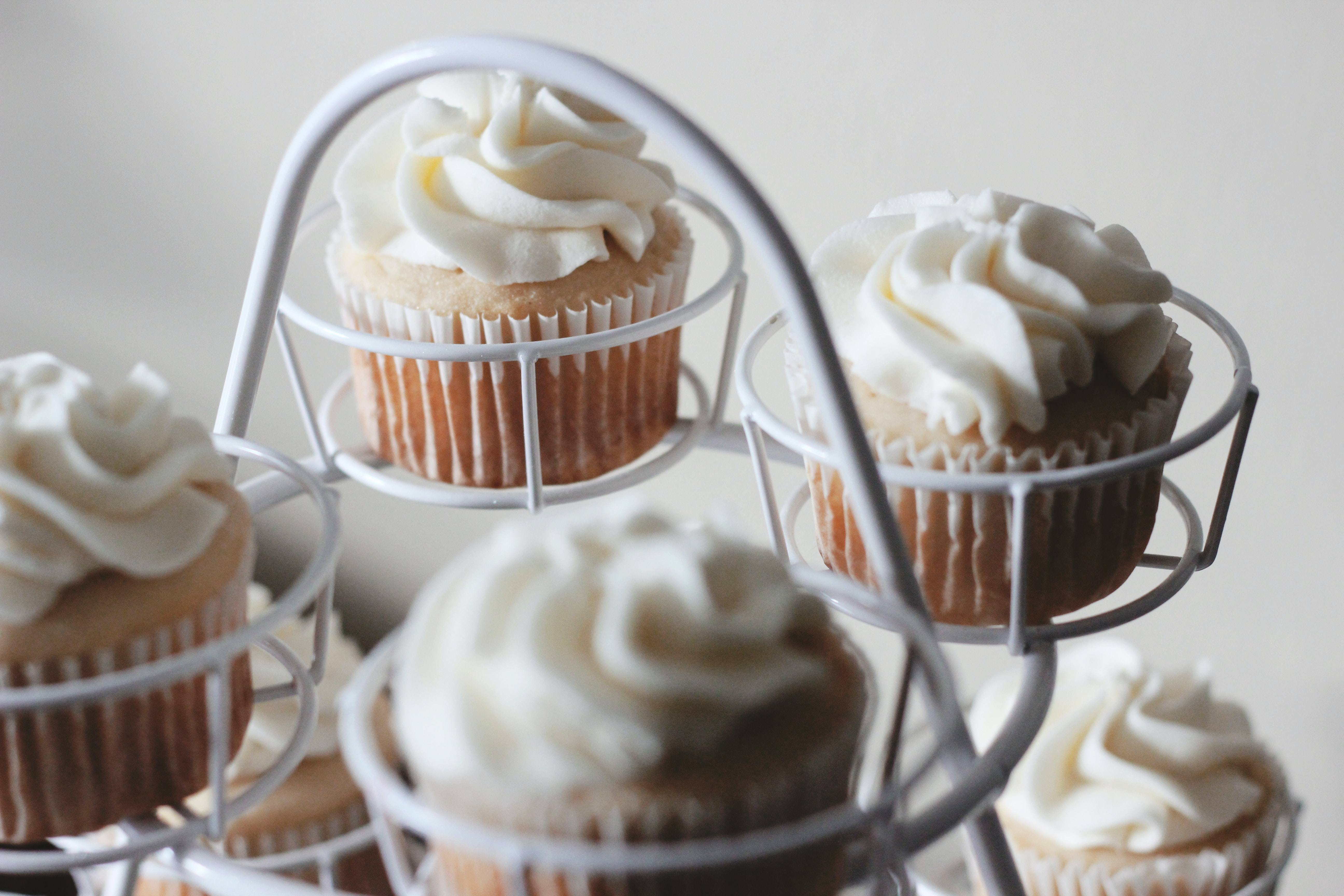 photo of baked cupcakes on white cupcake tray