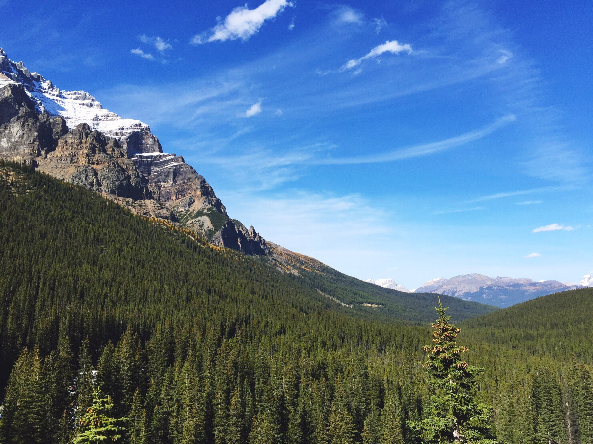 Snow-topped mountains and evergreen woods near Moraine Lake