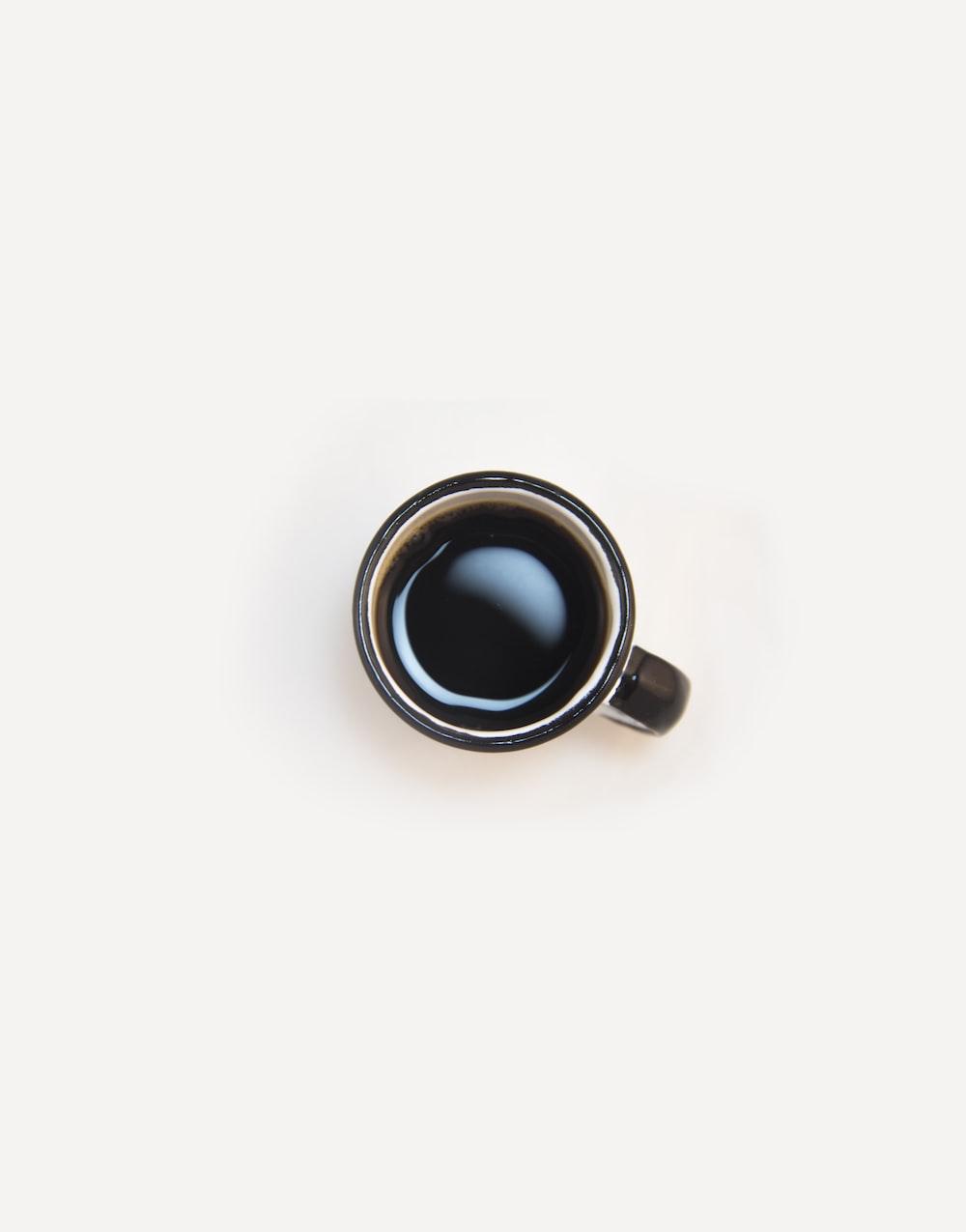 top view of white ceramic coffee mug